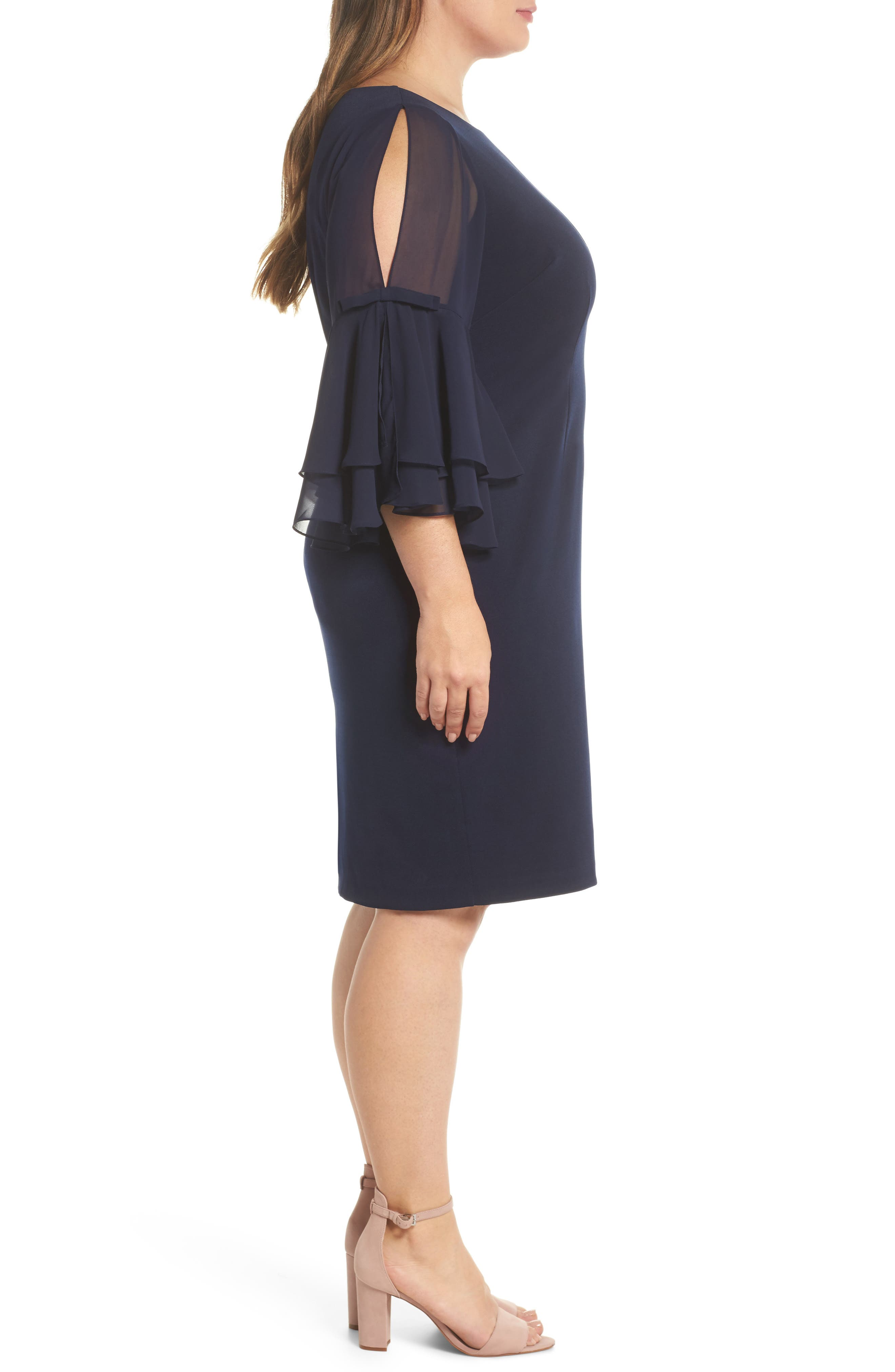 Bow Sleeve Chiffon Shift Dress,                             Alternate thumbnail 3, color,                             Navy