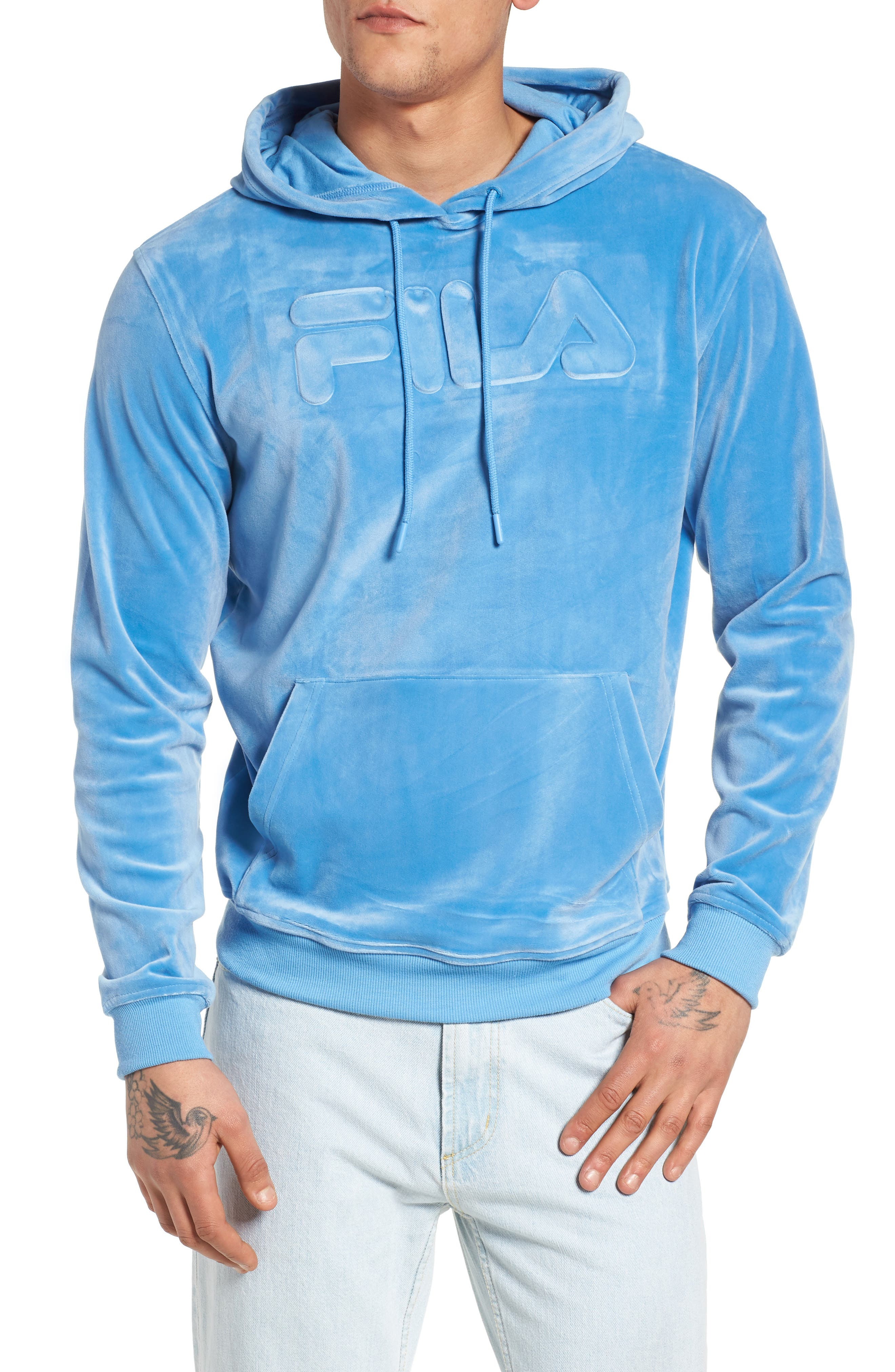Asher Velour Hoodie Sweatshirt,                             Main thumbnail 1, color,                             Silver Lake Blue