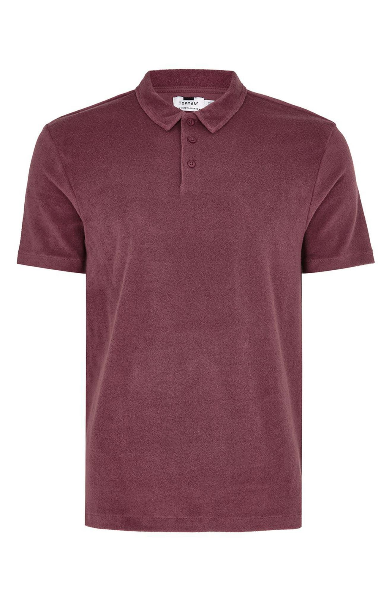Slim Fit Washed Toweling Polo,                             Alternate thumbnail 4, color,                             Purple