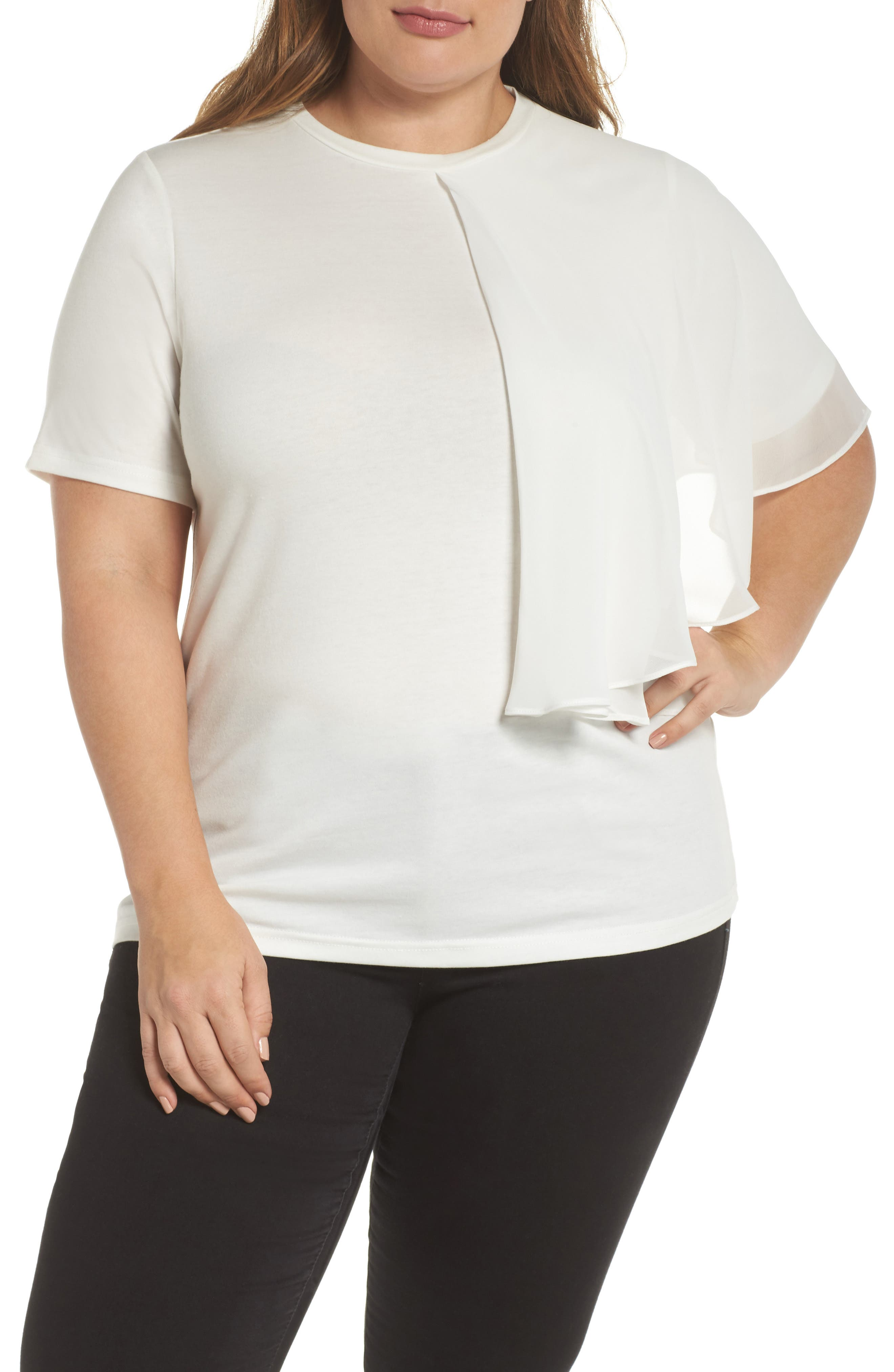 Flutter Frill Tee,                             Main thumbnail 1, color,                             White