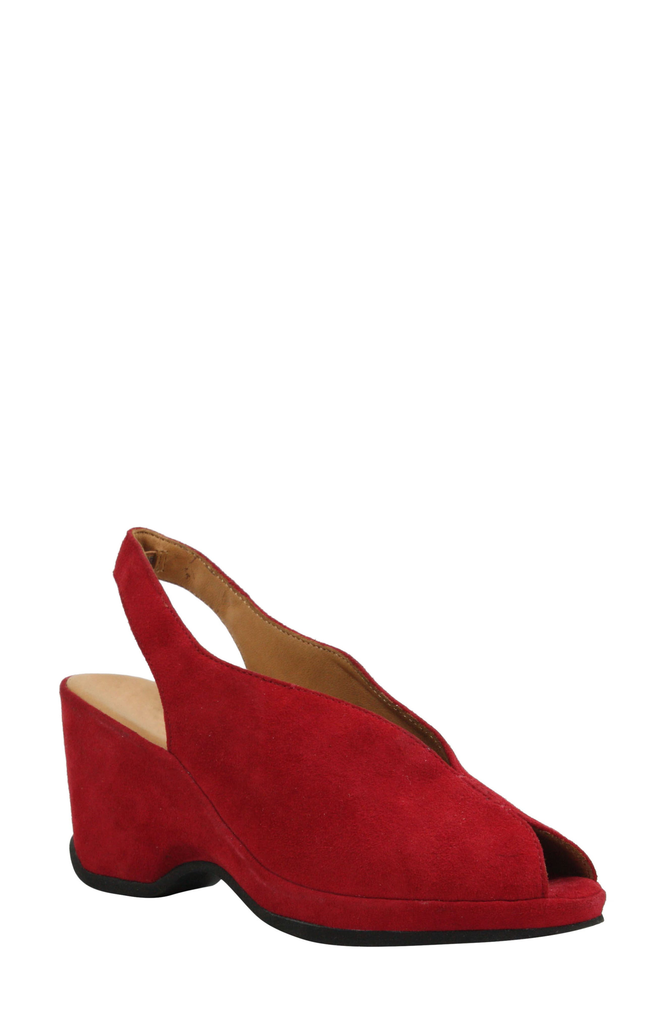 Odetta Slingback Wedge,                         Main,                         color, Bright Red Suede