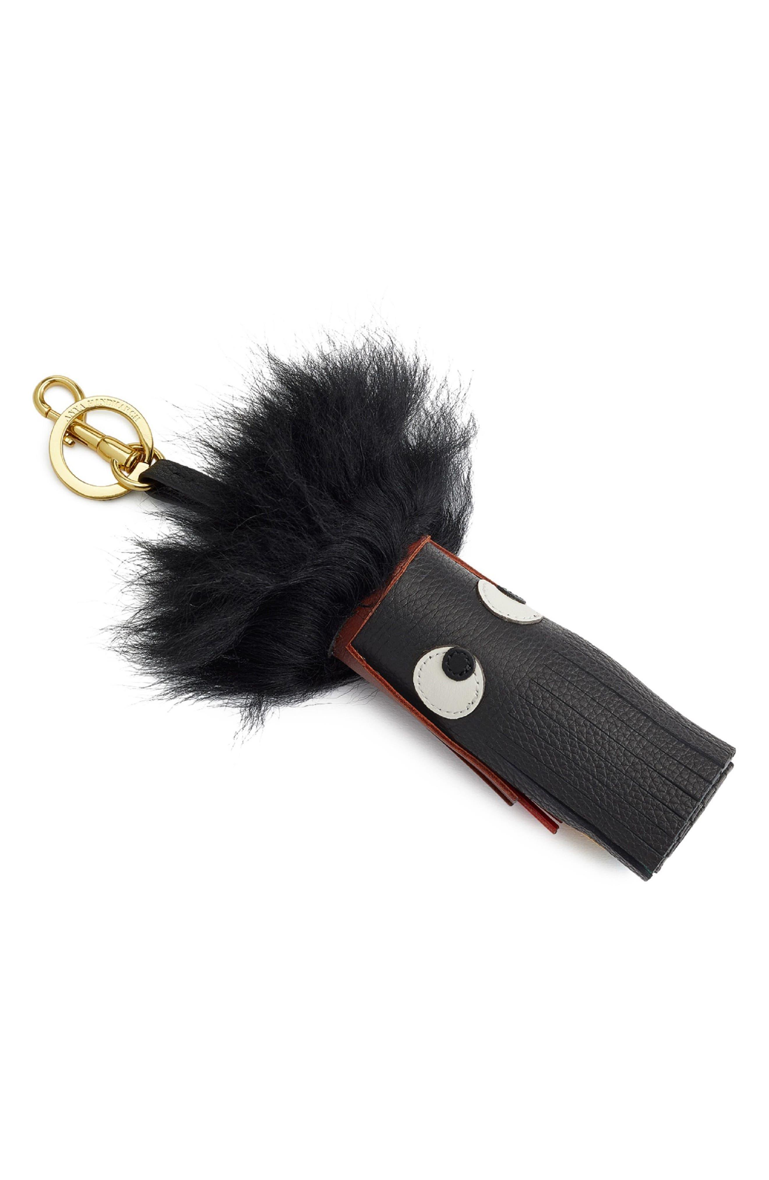 Build a Bag Genuine Shearling Creature Bag Charm,                         Main,                         color, Black