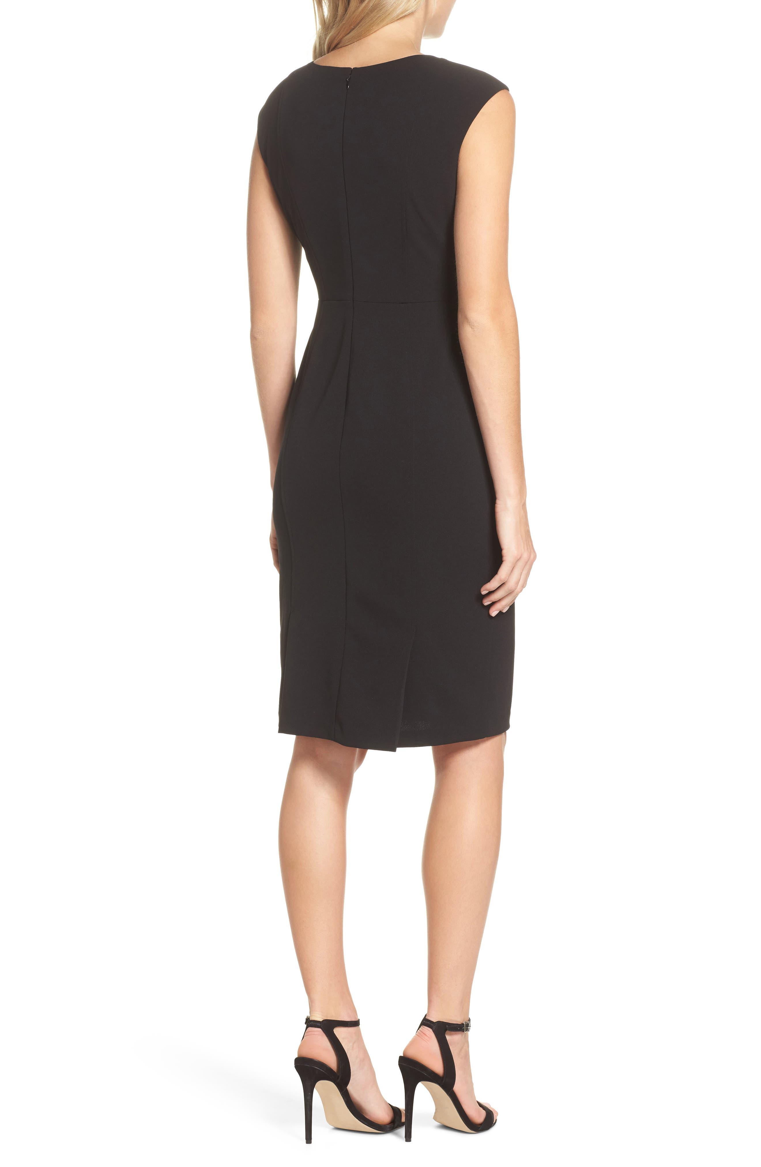 Scuba Crepe Sheath Dress,                             Alternate thumbnail 2, color,                             Black