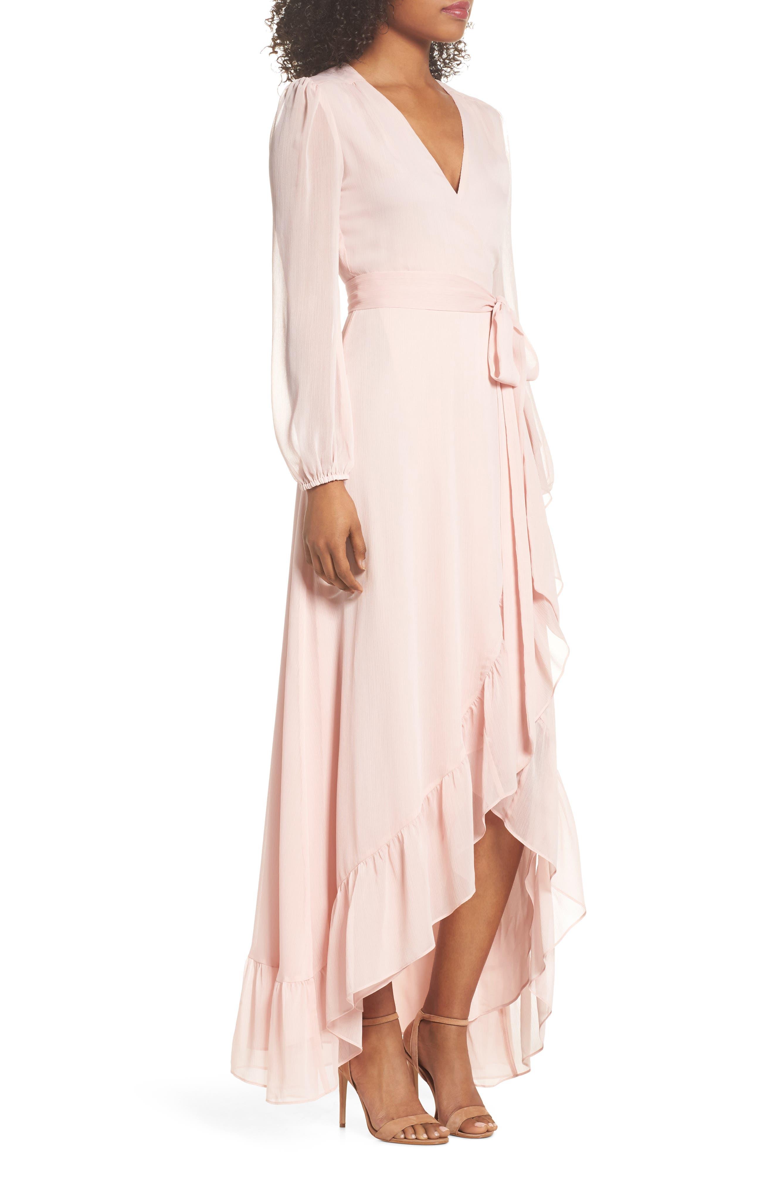 Meryl Long Sleeve Wrap Maxi Dress,                             Alternate thumbnail 3, color,                             Ballet Pink