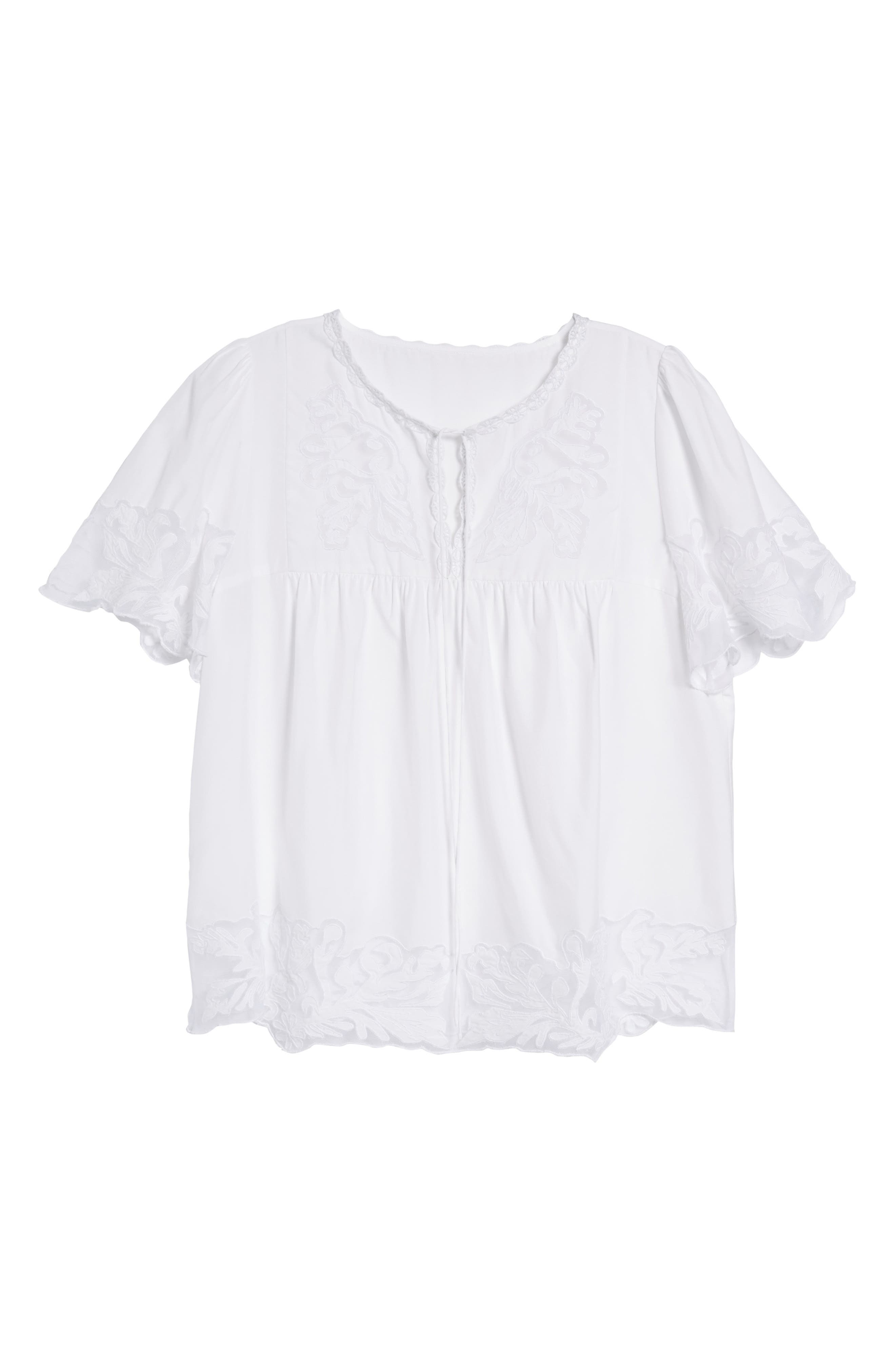 Embroidered Appliqué Top,                             Alternate thumbnail 6, color,                             White