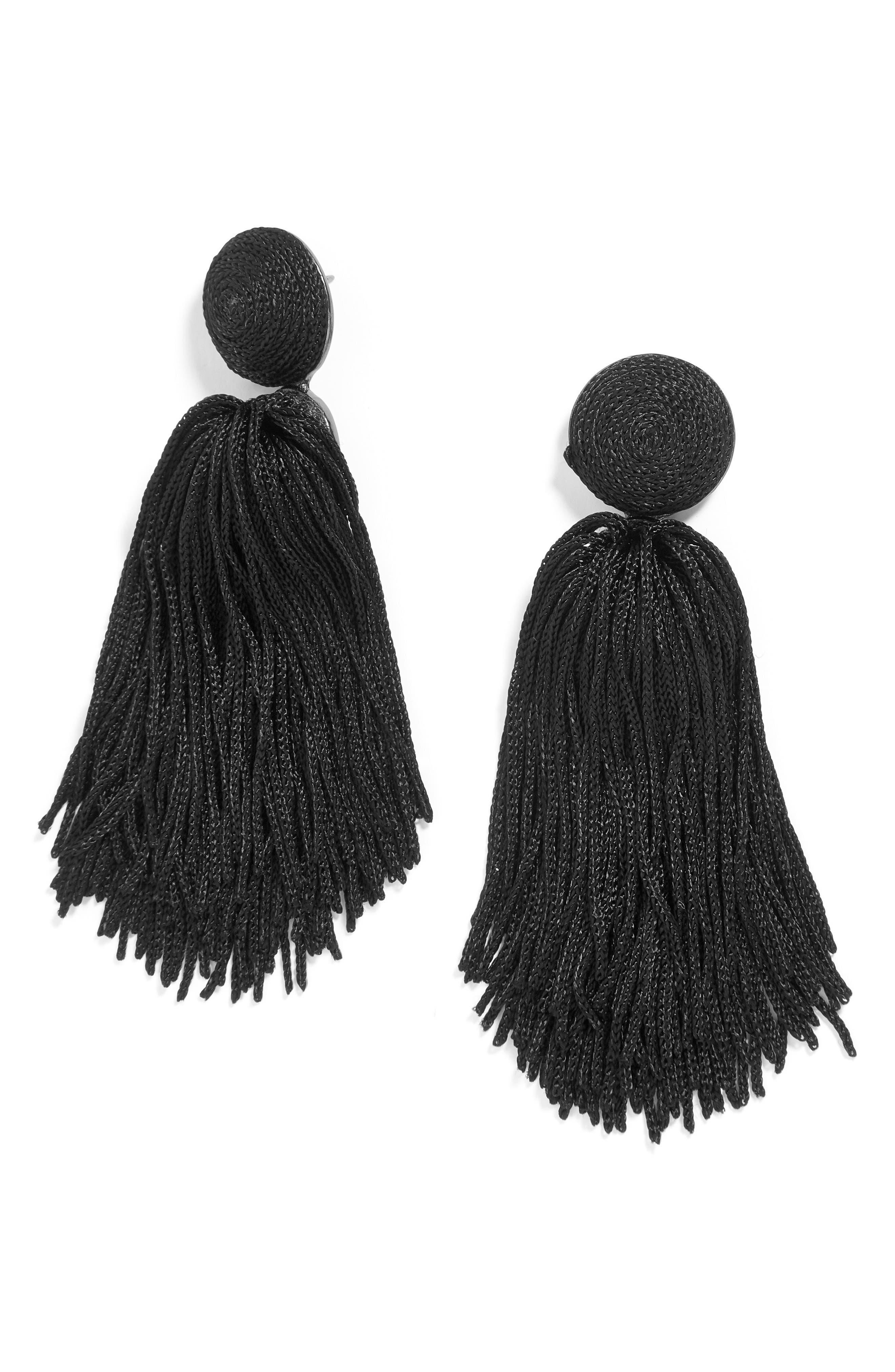 Sonatina Tassel Earrings,                         Main,                         color, Black