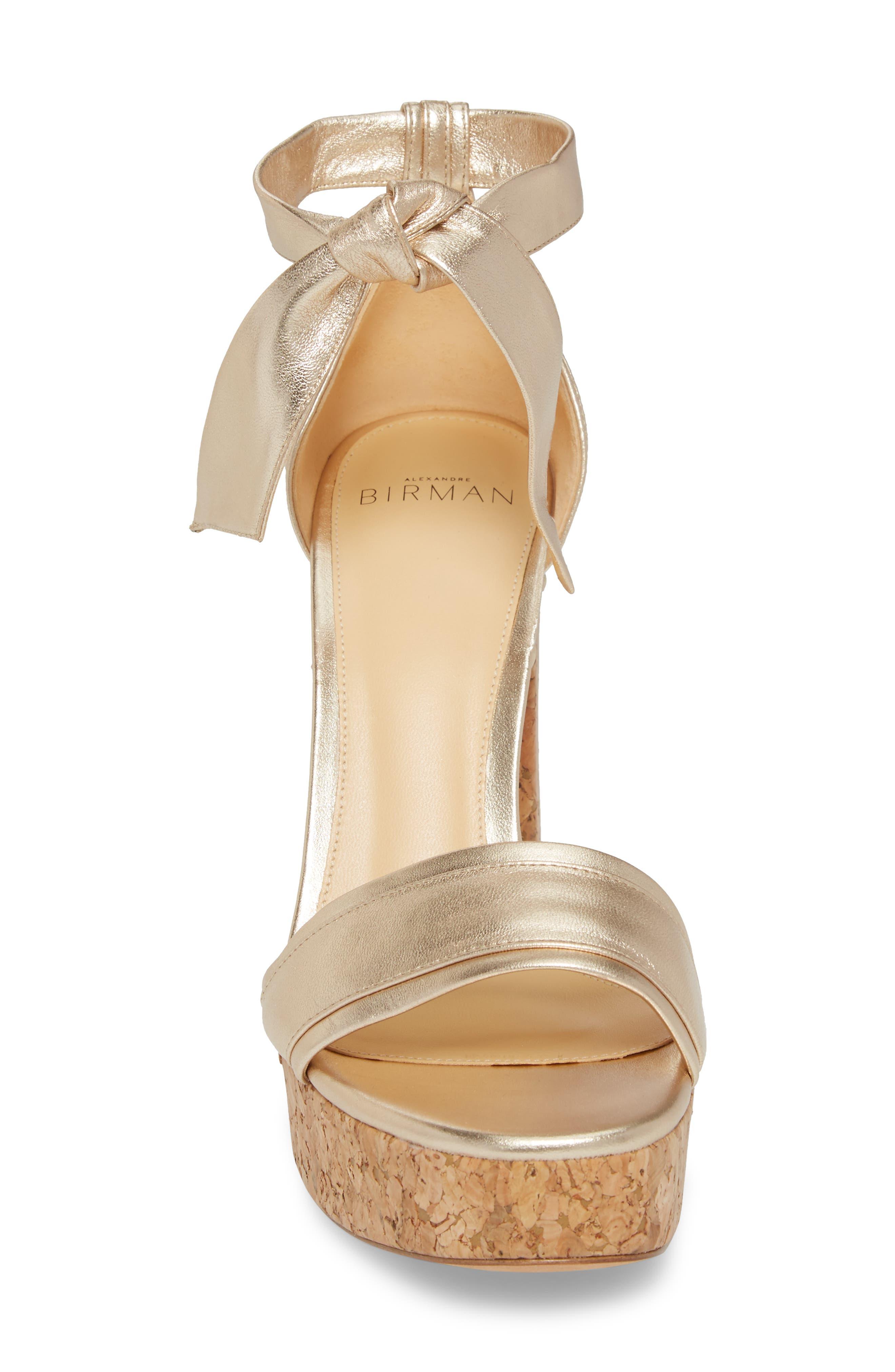 Celine Ankle Tie Platform Sandal,                             Alternate thumbnail 4, color,                             Gold