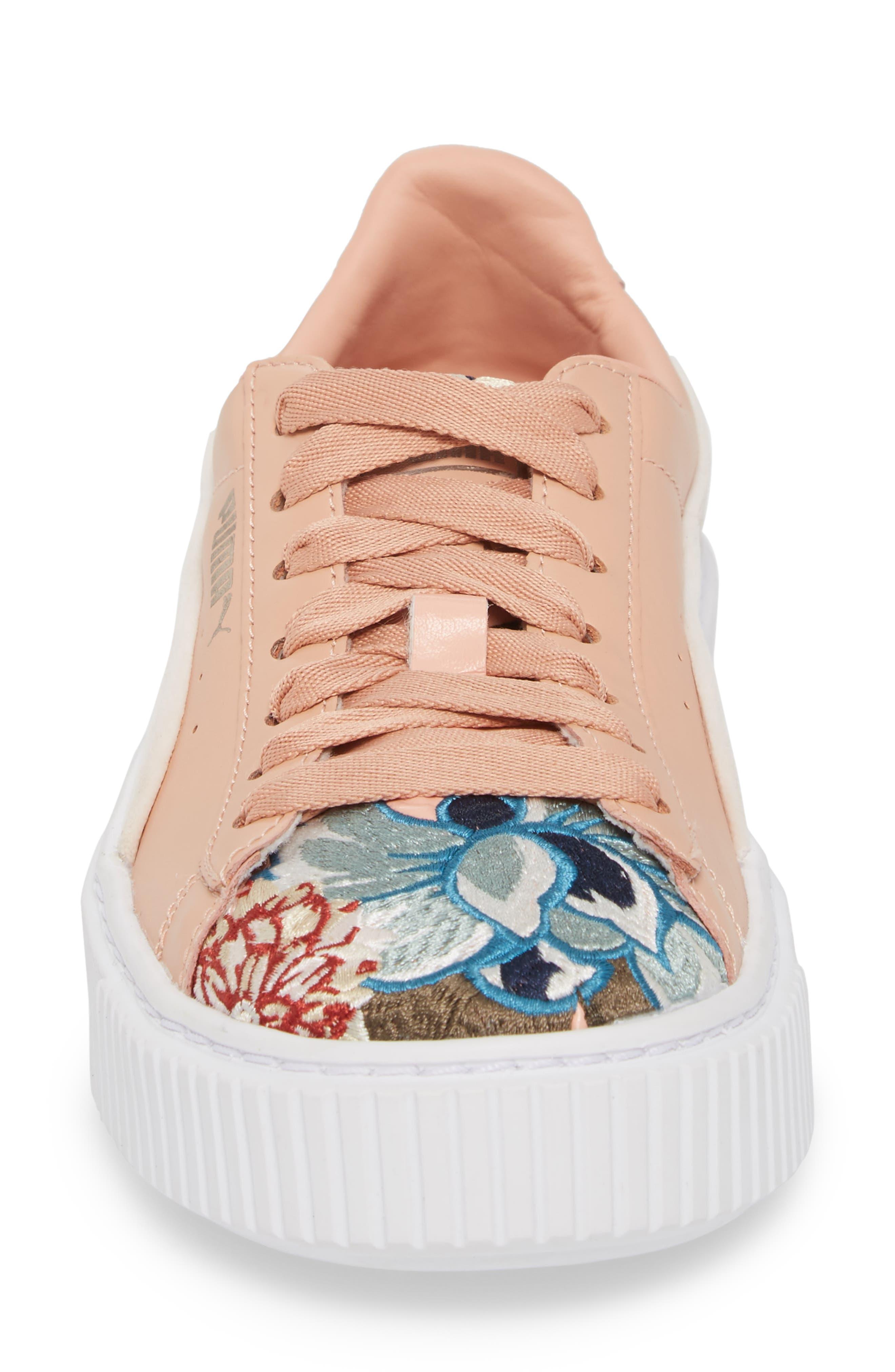 Platform Hyper Embroidered Sneaker,                             Alternate thumbnail 4, color,                             Peach Beige