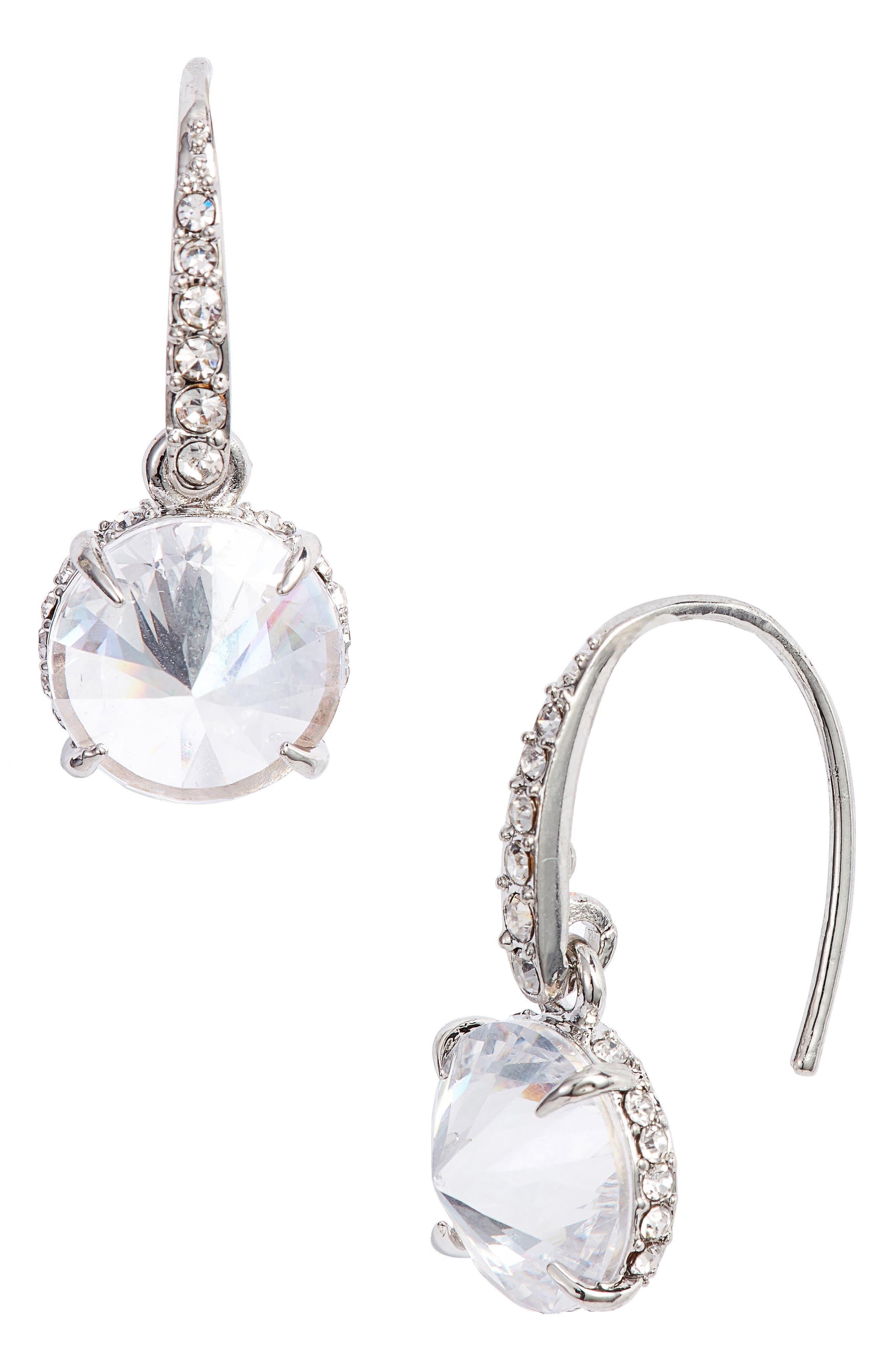 Rivoli Drop Earrings,                         Main,                         color, Silver