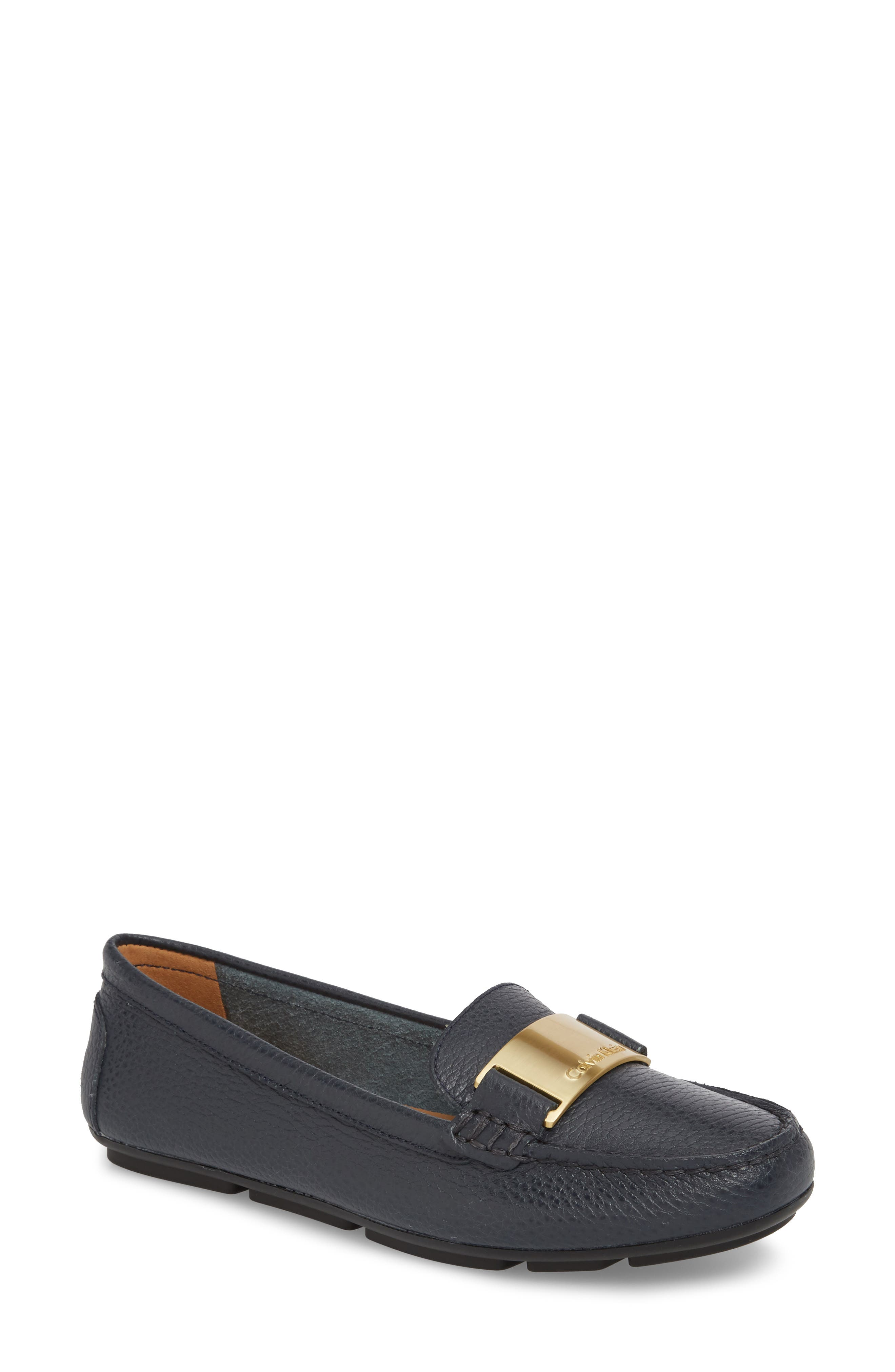 Lisette Loafer,                             Main thumbnail 1, color,                             Deep Navy Leather