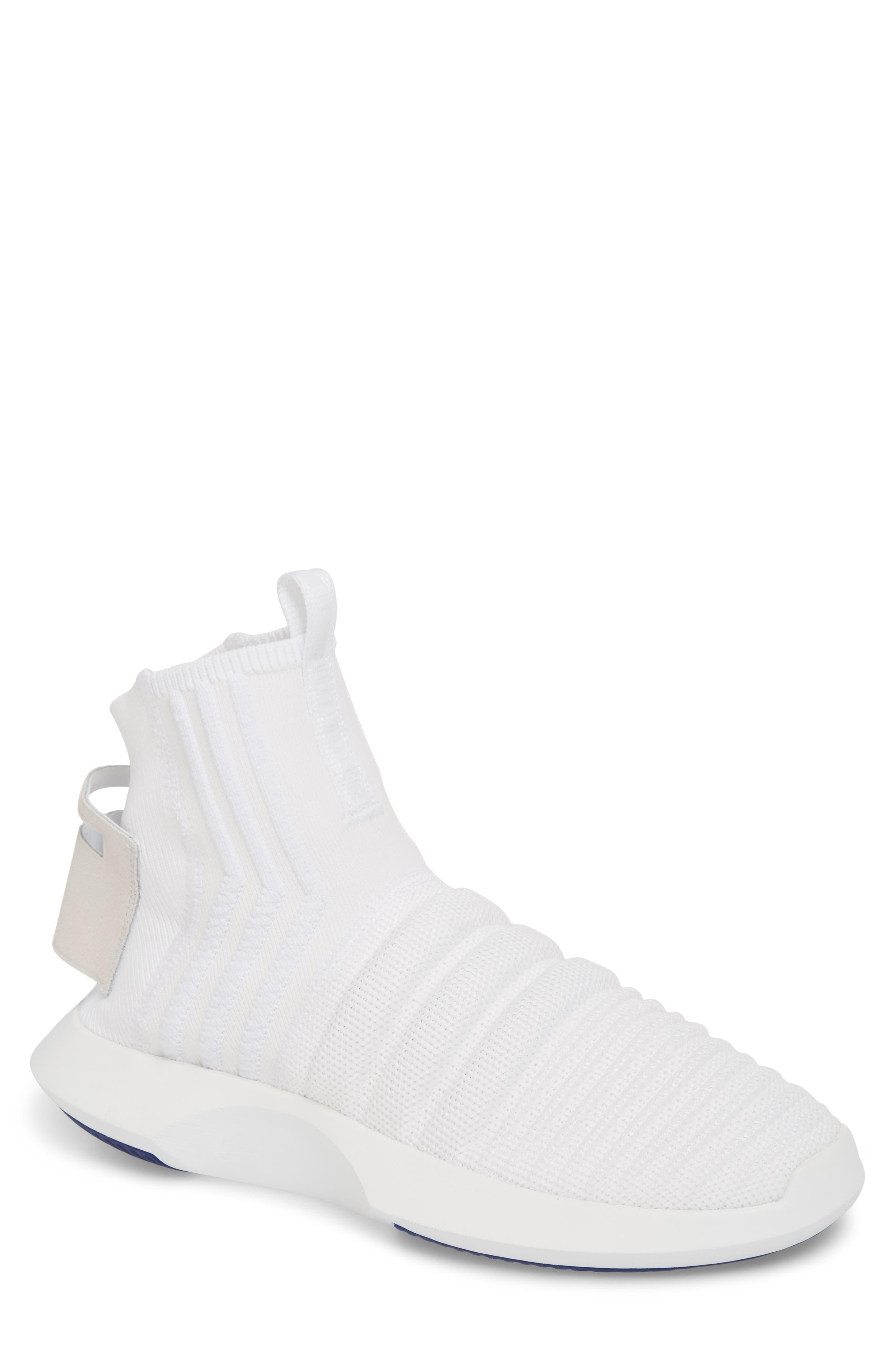 Crazy 1 ADV Sock Primeknit Sneaker,                             Main thumbnail 1, color,                             White/ Real Purple