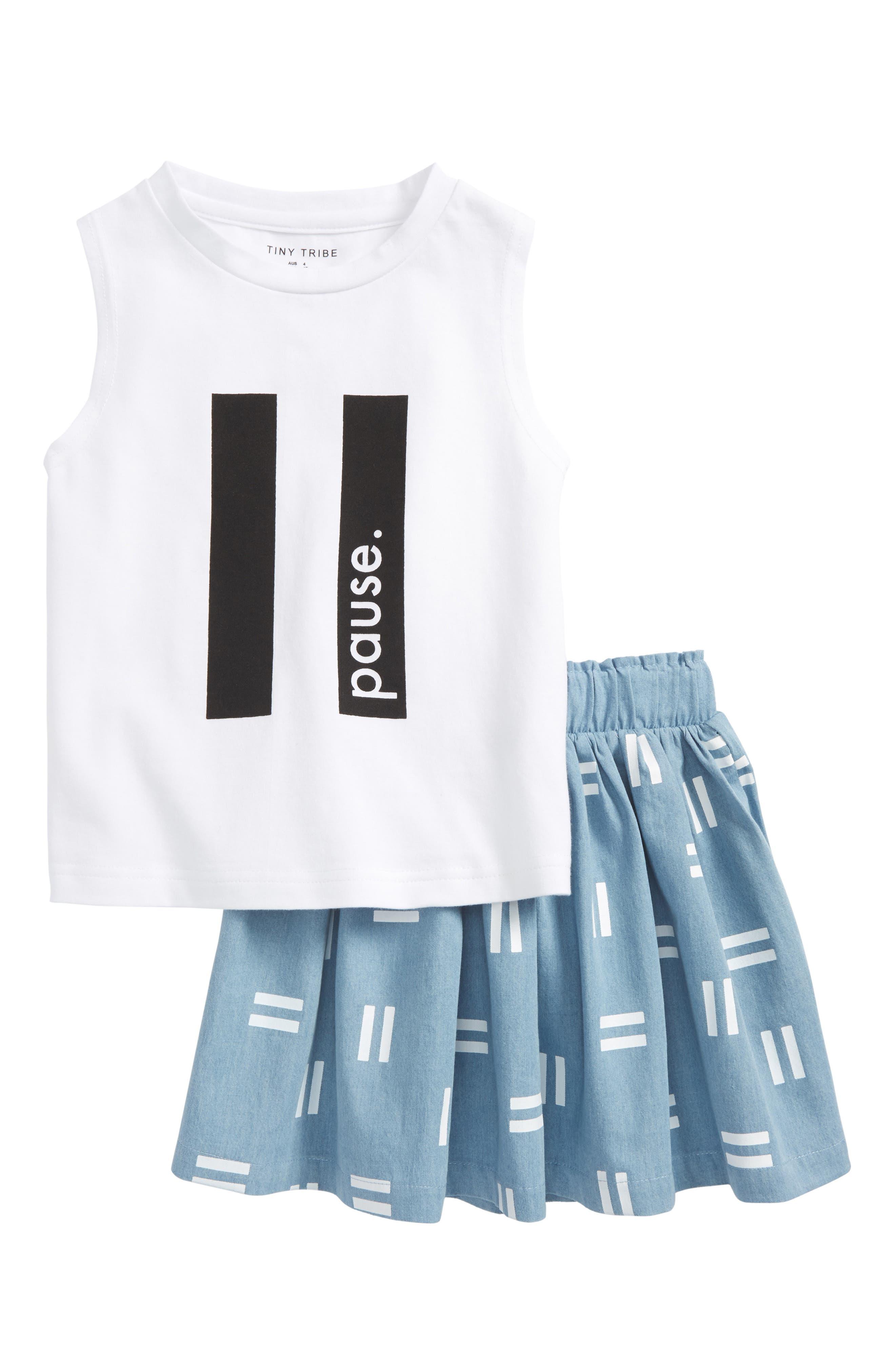 Pause Tank & Skirt Set,                         Main,                         color, White / Chambray