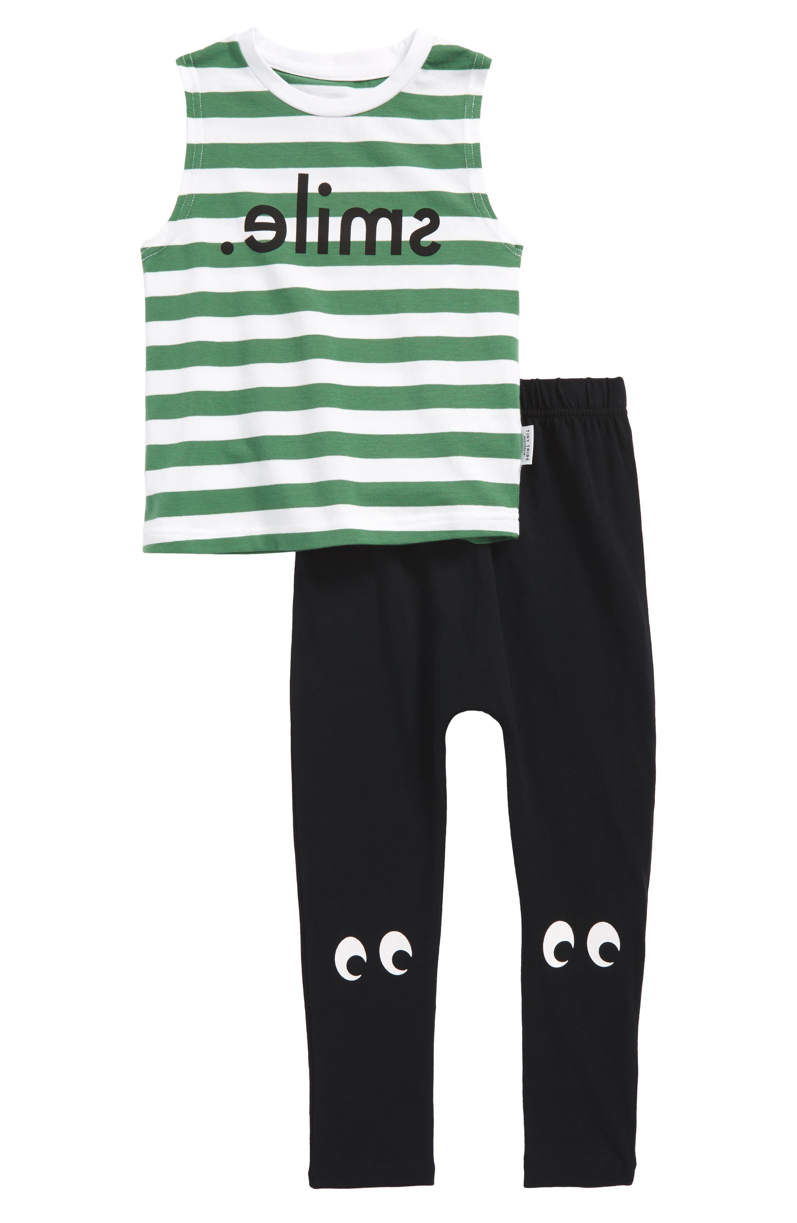 Alternate Image 1 Selected - Tiny Tribe Smile Tank & Leggings Set (Toddler Girls & Little Girls)