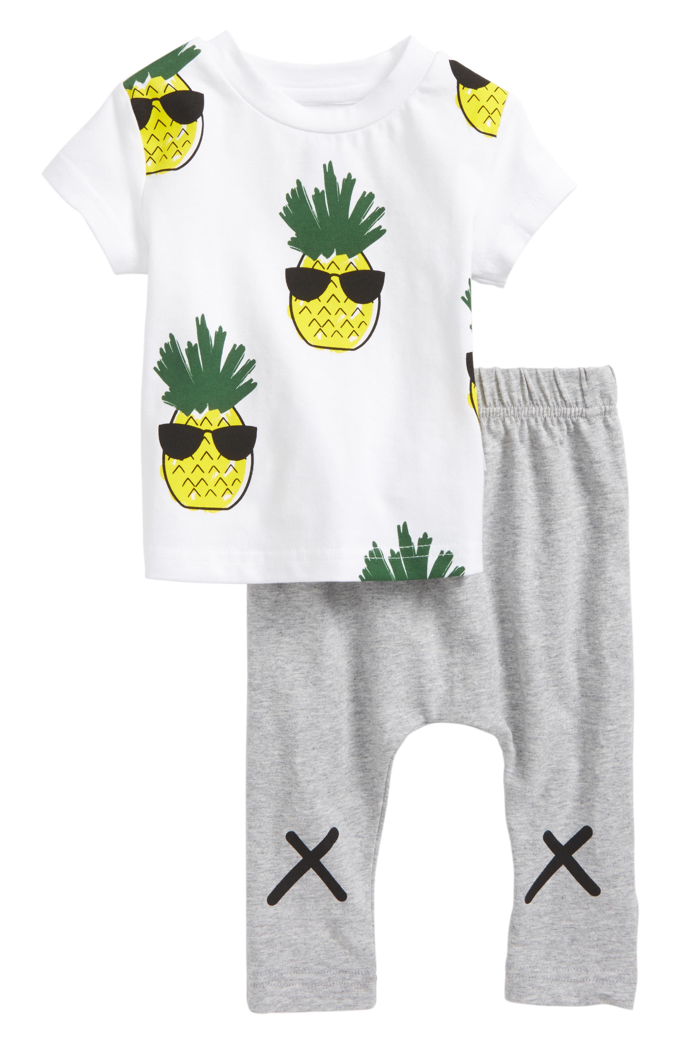 Cool Pineapple T-Shirt & Pants Set,                             Main thumbnail 1, color,                             White/ Grey