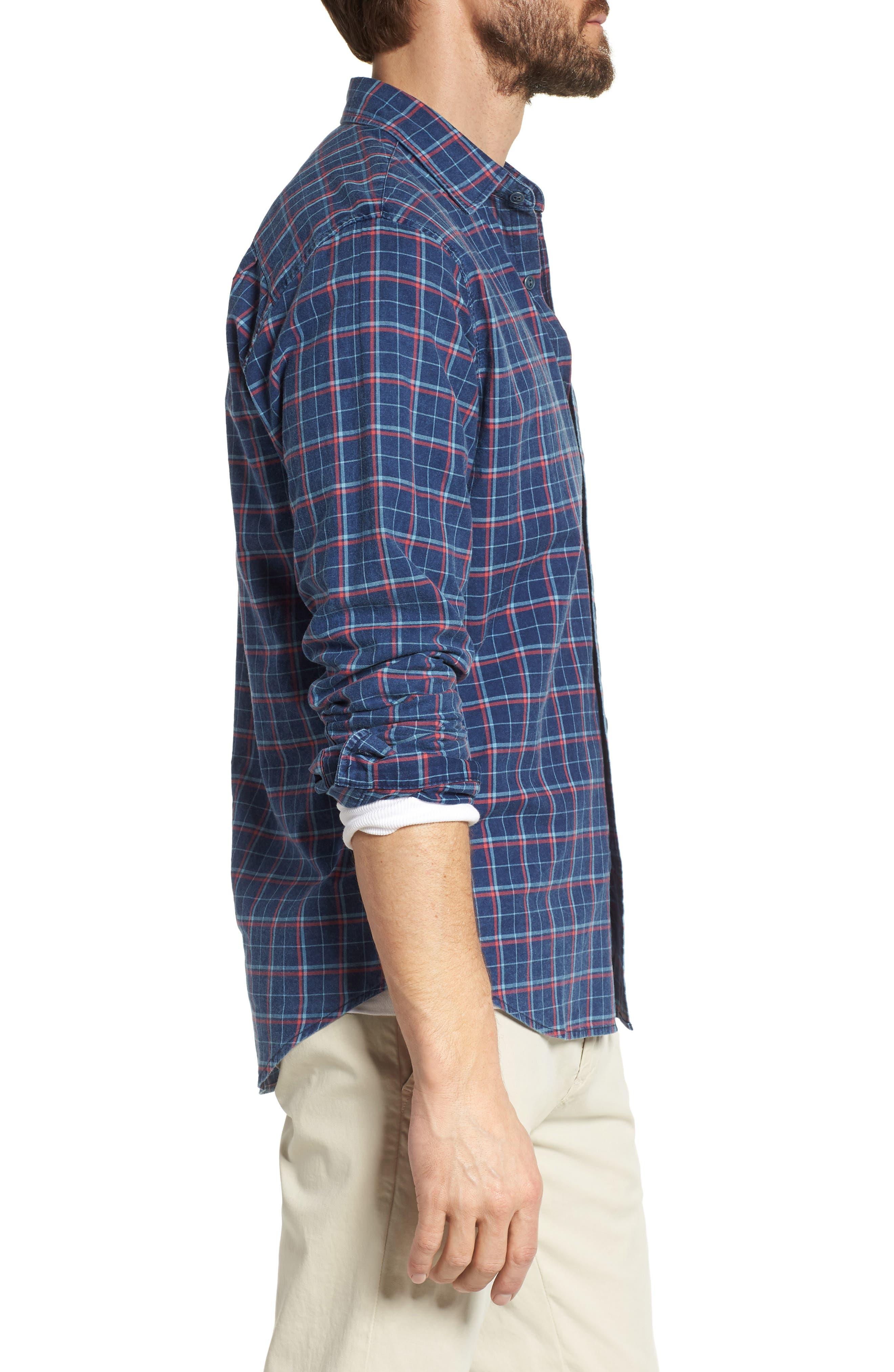 Ventura Plaid Sport Shirt,                             Alternate thumbnail 3, color,                             Dark Indigo Multi