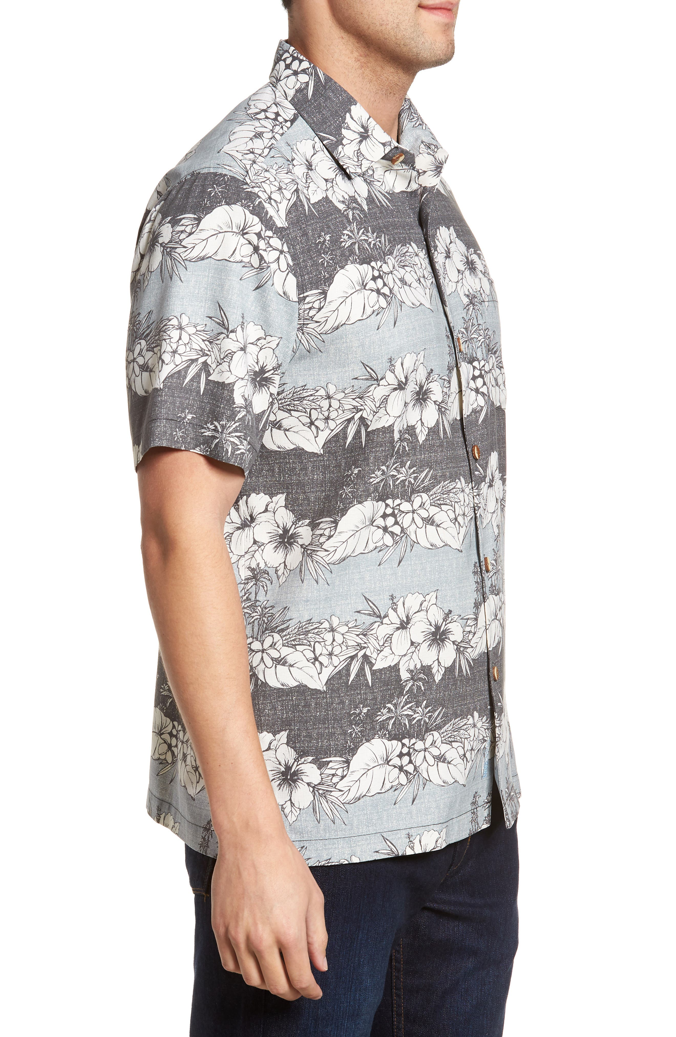 Sky Vines Silk Blend Camp Shirt,                             Alternate thumbnail 3, color,                             Fog Grey