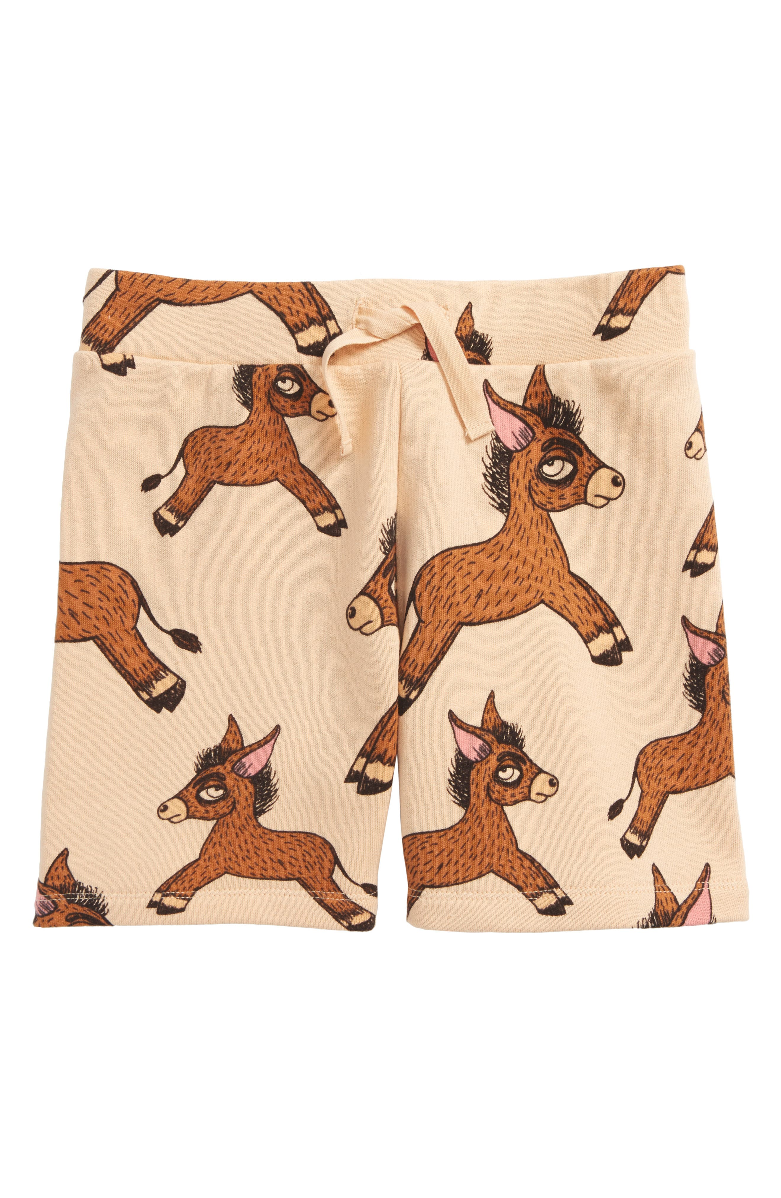 Donkey Print Organic Cotton Sweat Shorts,                         Main,                         color, Beige