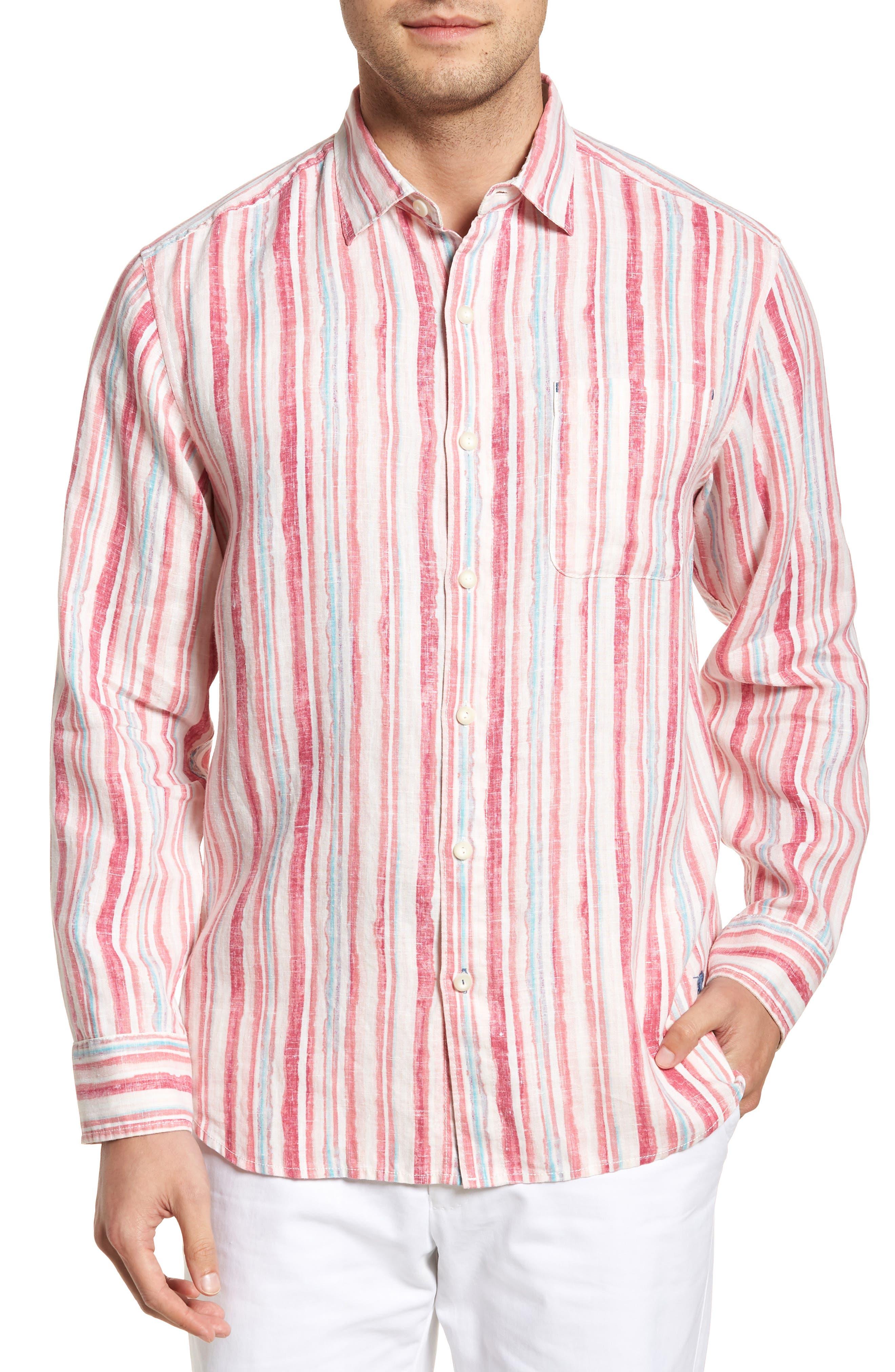 Alternate Image 1 Selected - Tommy Bahama Watercrest Stripe Linen Sport Shirt