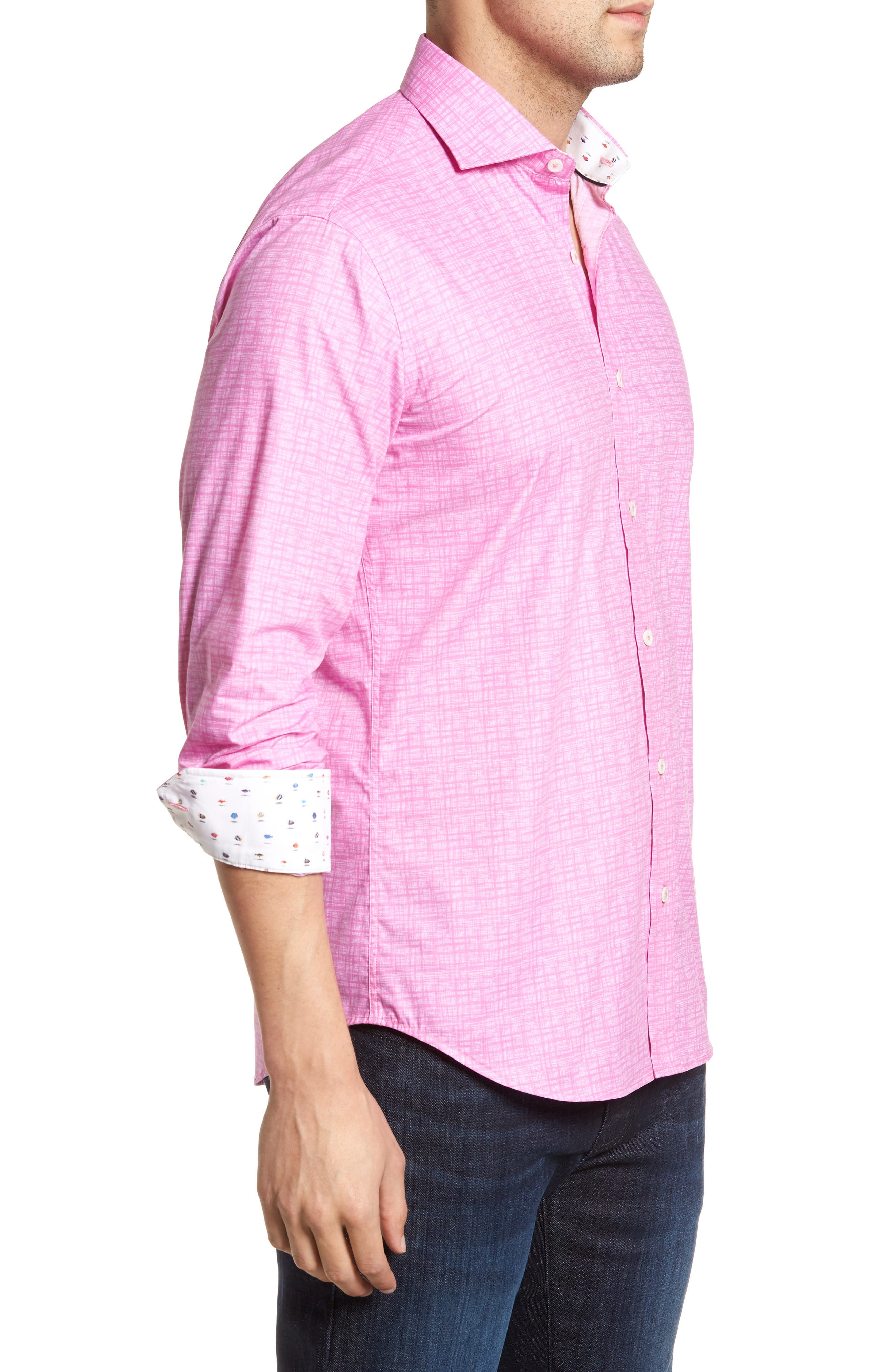 Freehand Shaped Fit Sport Shirt,                             Alternate thumbnail 4, color,                             Pink