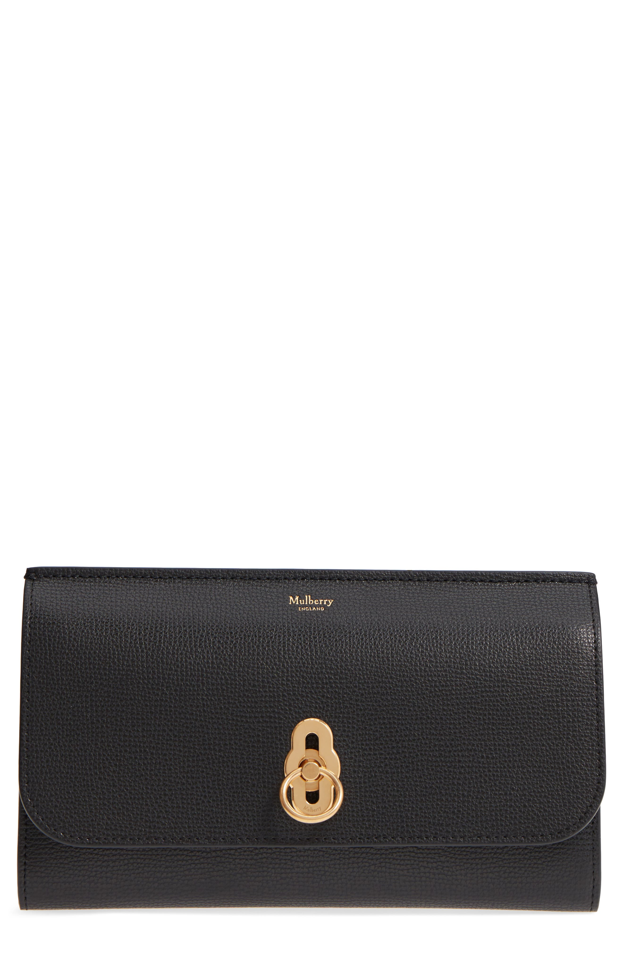 Amberley Calfskin Leather Clutch,                             Main thumbnail 1, color,                             Black