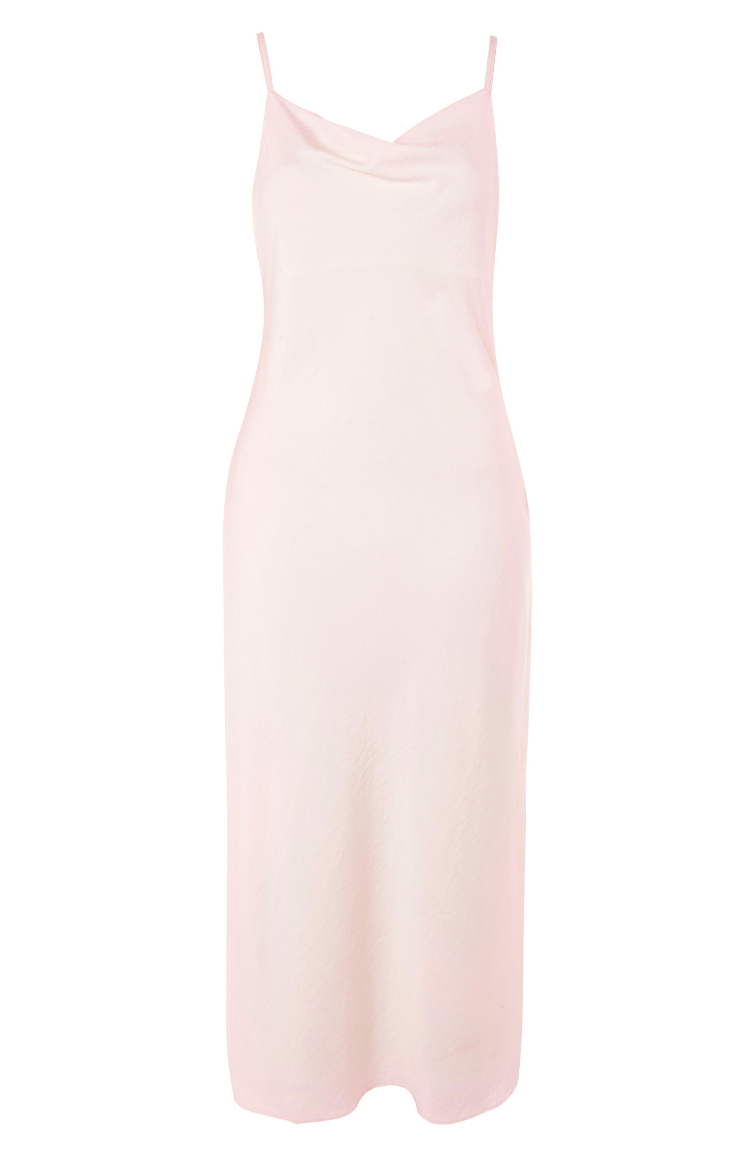 Cowl Neck Satin Midi Dress,                             Alternate thumbnail 2, color,                             Blush