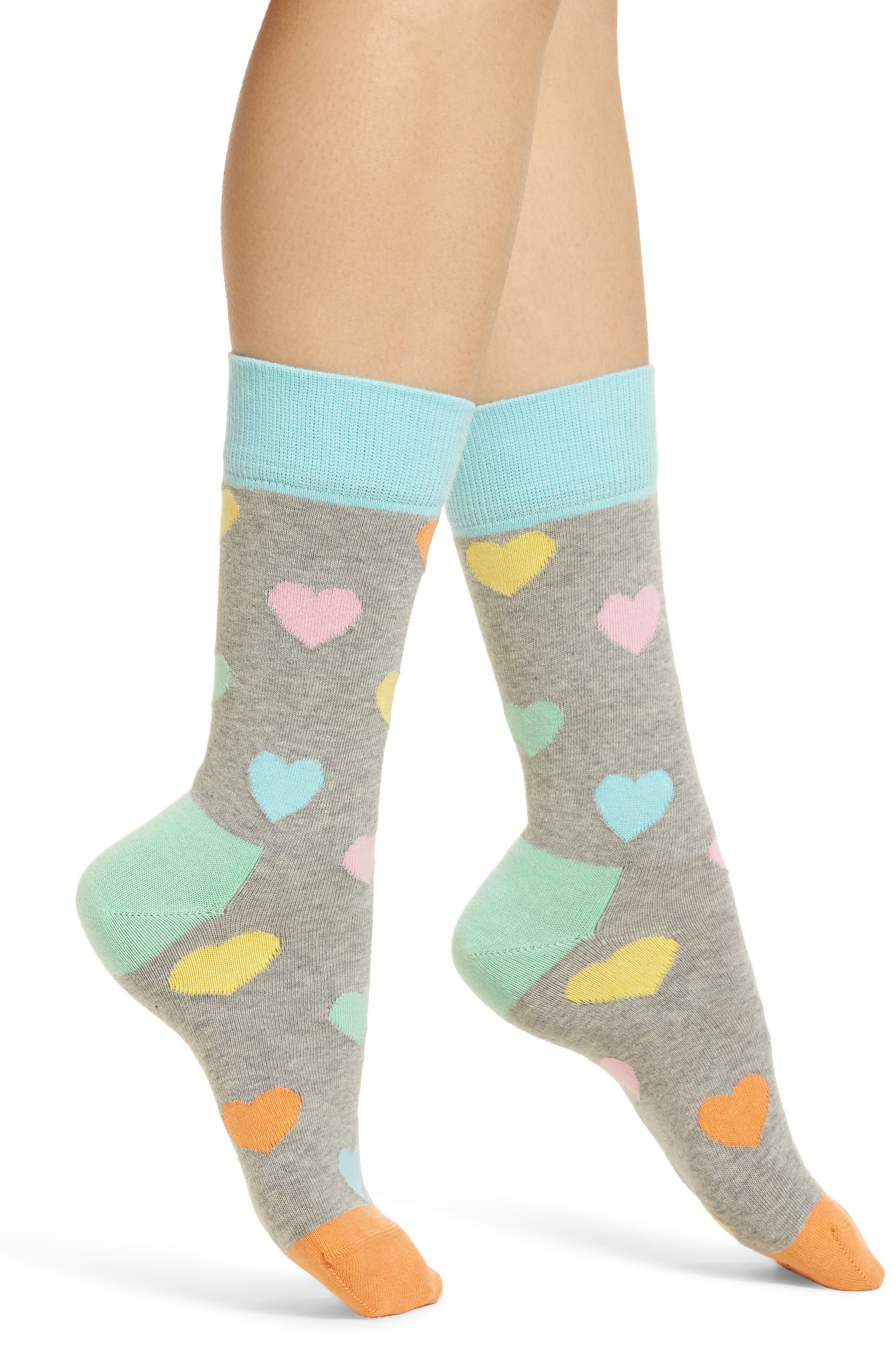 Heart Crew Socks,                         Main,                         color, Grey