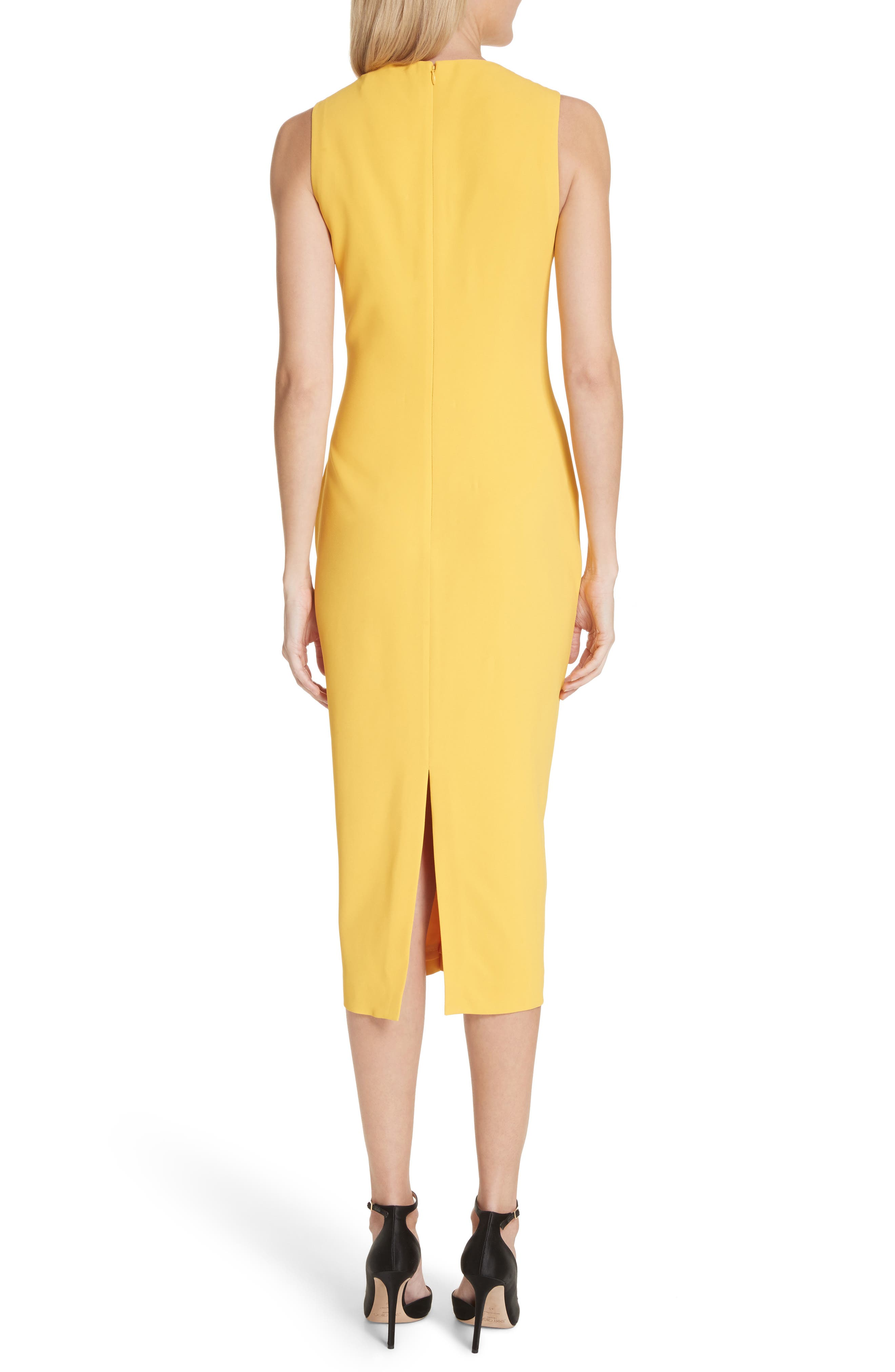 Sheath Midi Dress,                             Alternate thumbnail 2, color,                             Yellow
