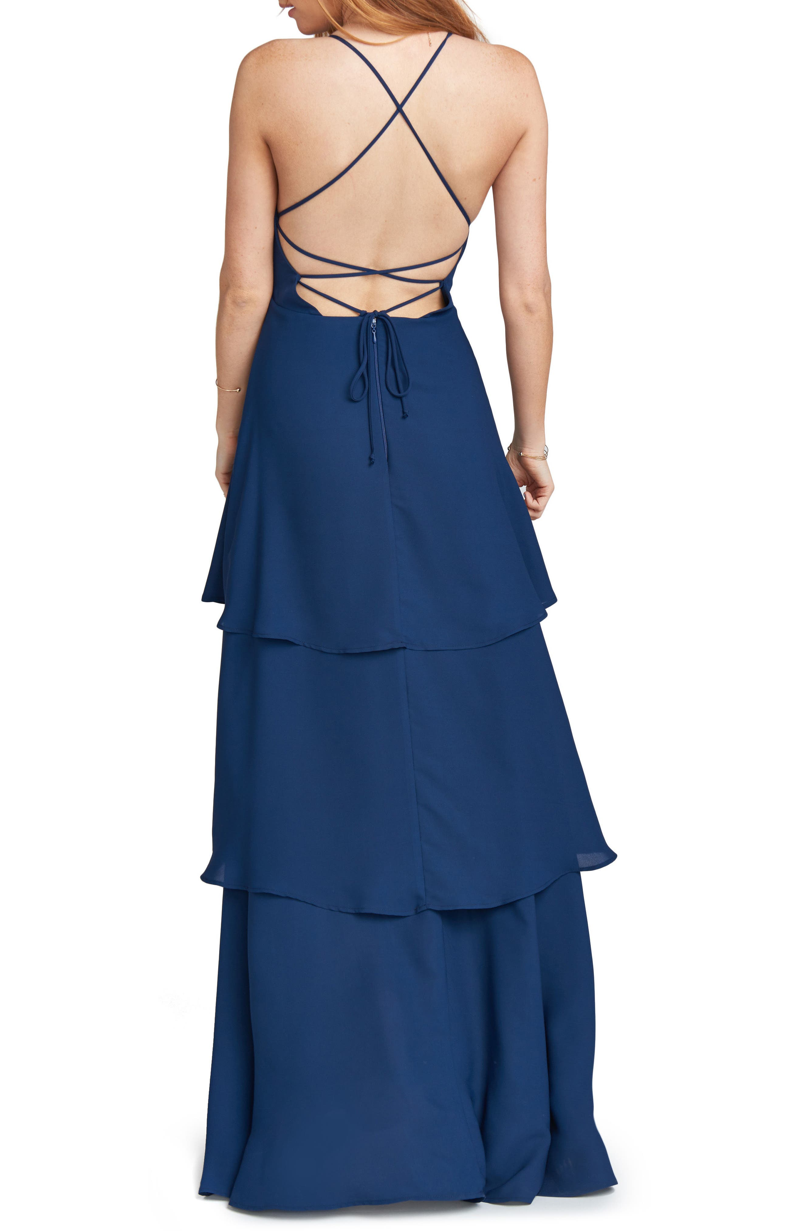 Calypso Strappy Tiered Maxi Dress,                             Alternate thumbnail 2, color,                             Rich Navy