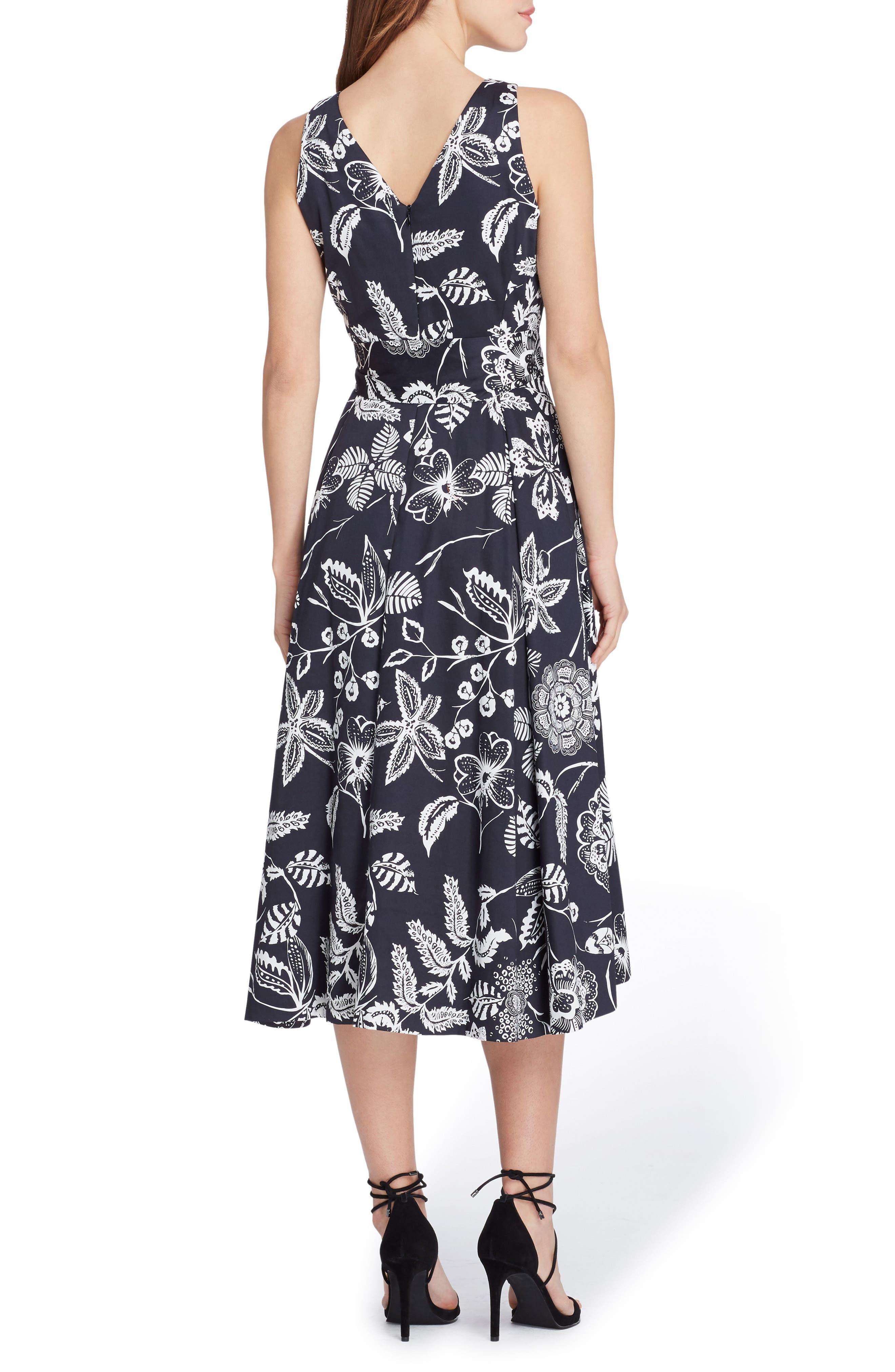 Print Sateen Midi Dress,                             Alternate thumbnail 2, color,                             Black/ White