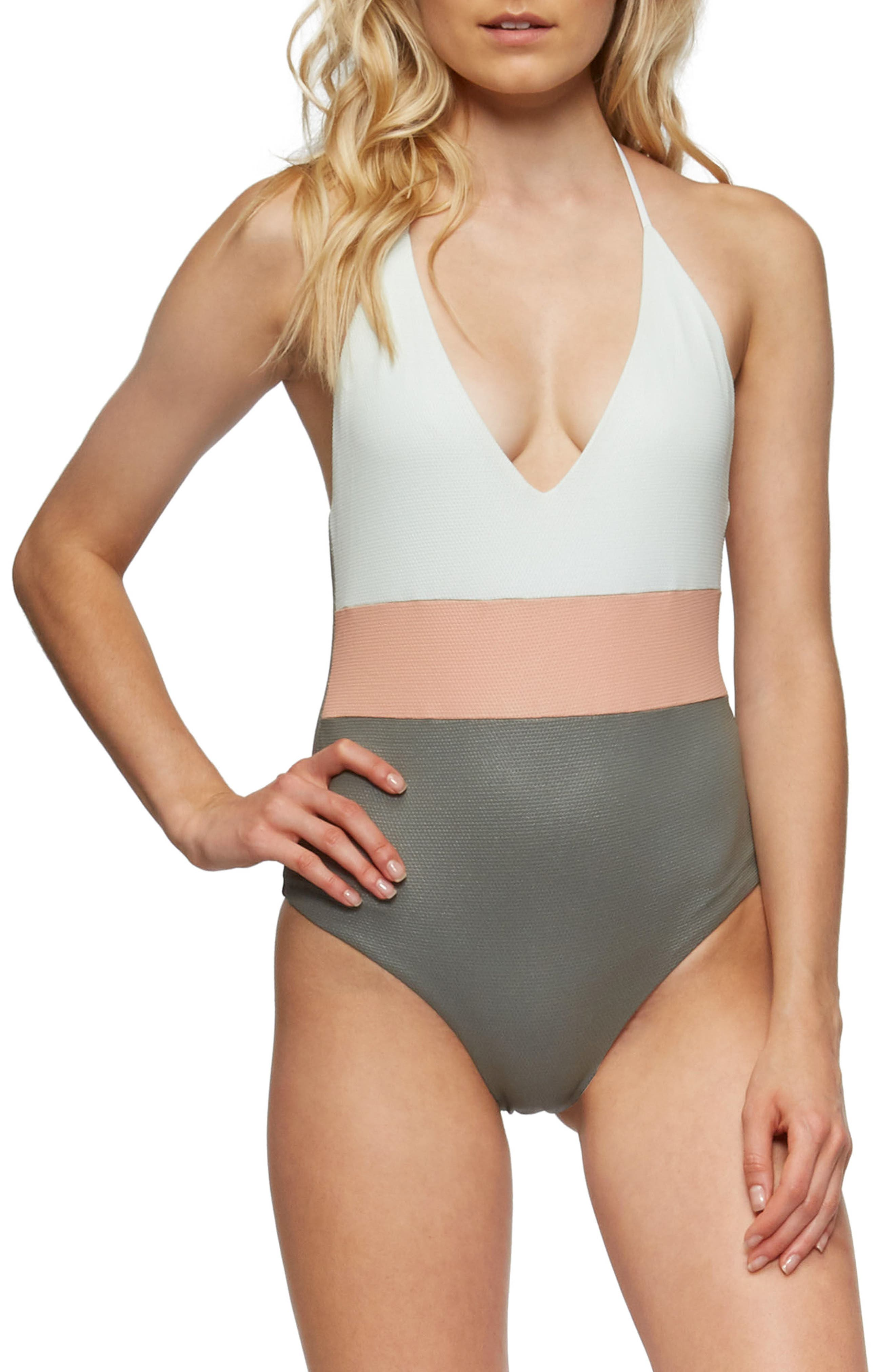 Chase Glossy One-Piece Swimsuit,                         Main,                         color, Cove Grey