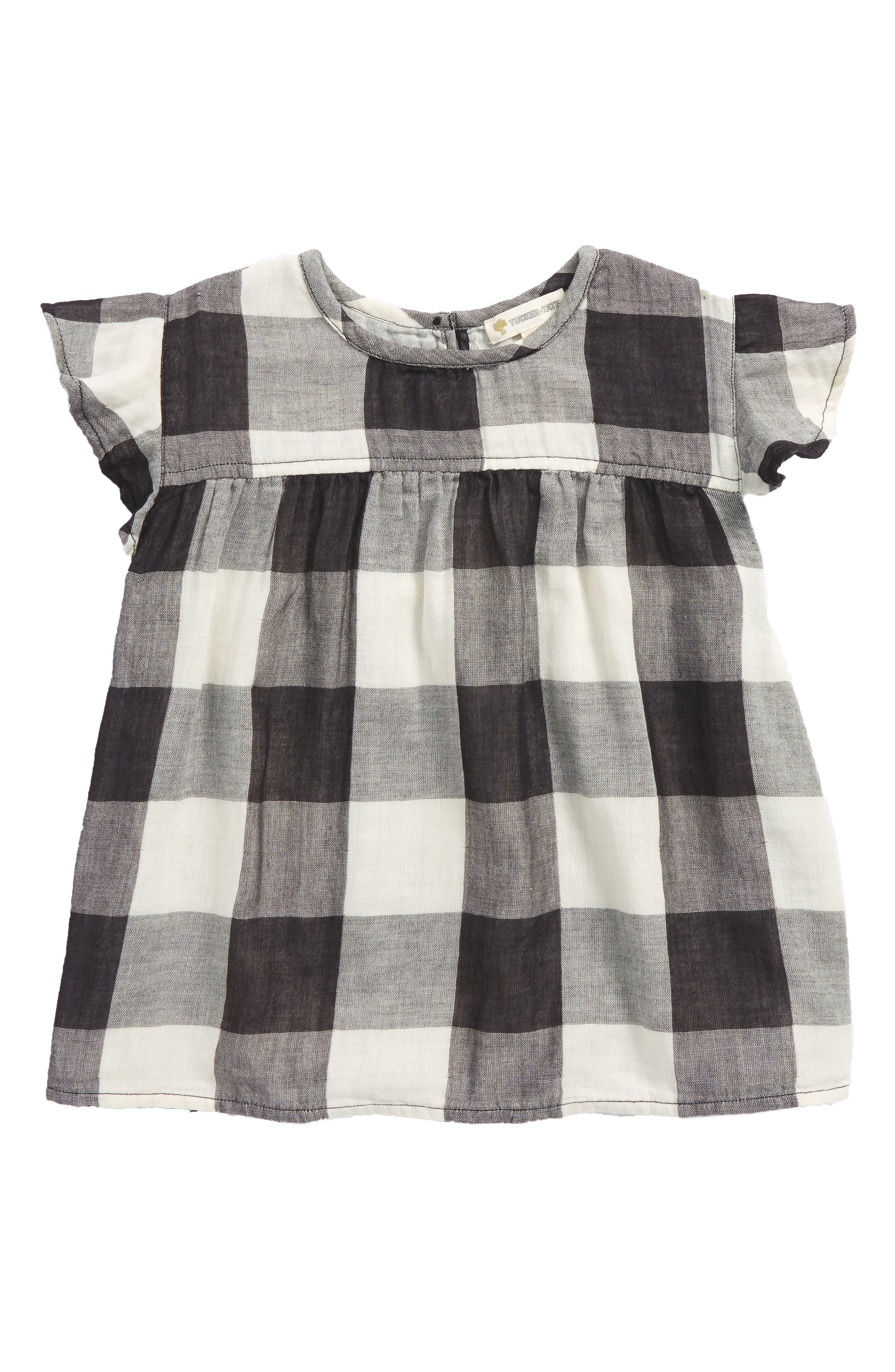 Woven Check Top,                         Main,                         color, Black- Ivory Check