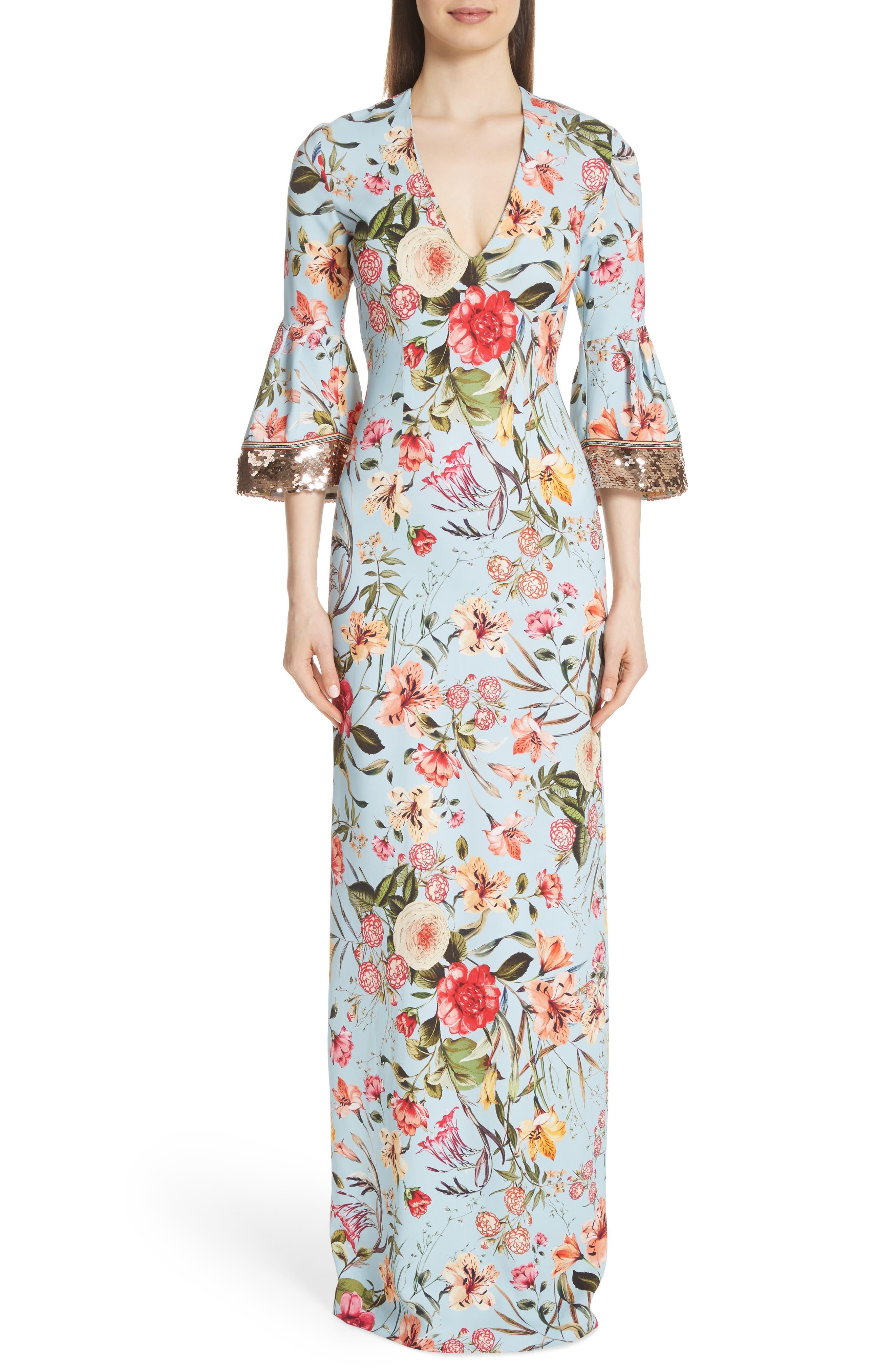 Sachin & Babi Noir Sequin Sleeve Floral Print Gown