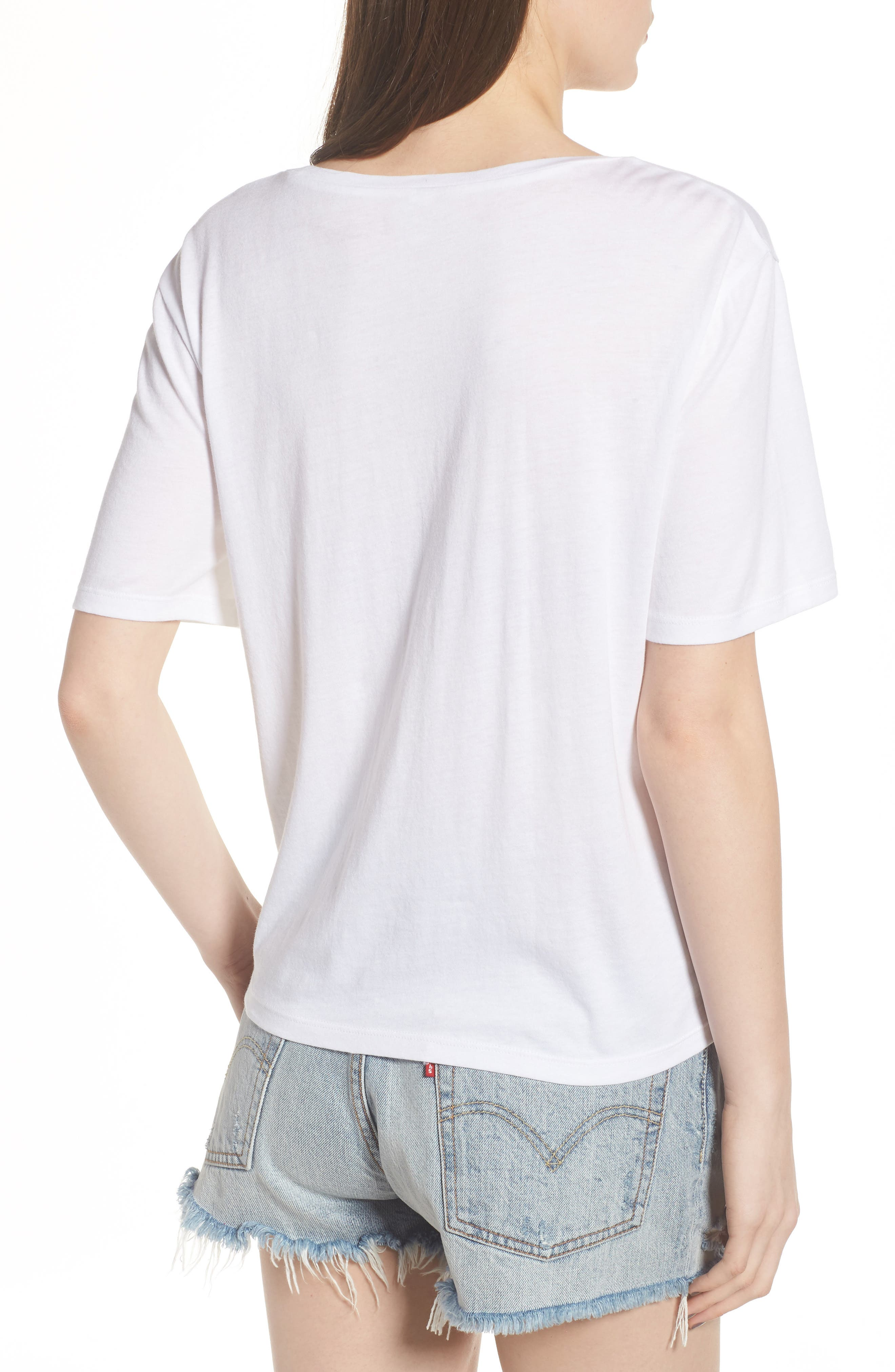 Floral Embroidered Tee,                             Alternate thumbnail 2, color,                             White
