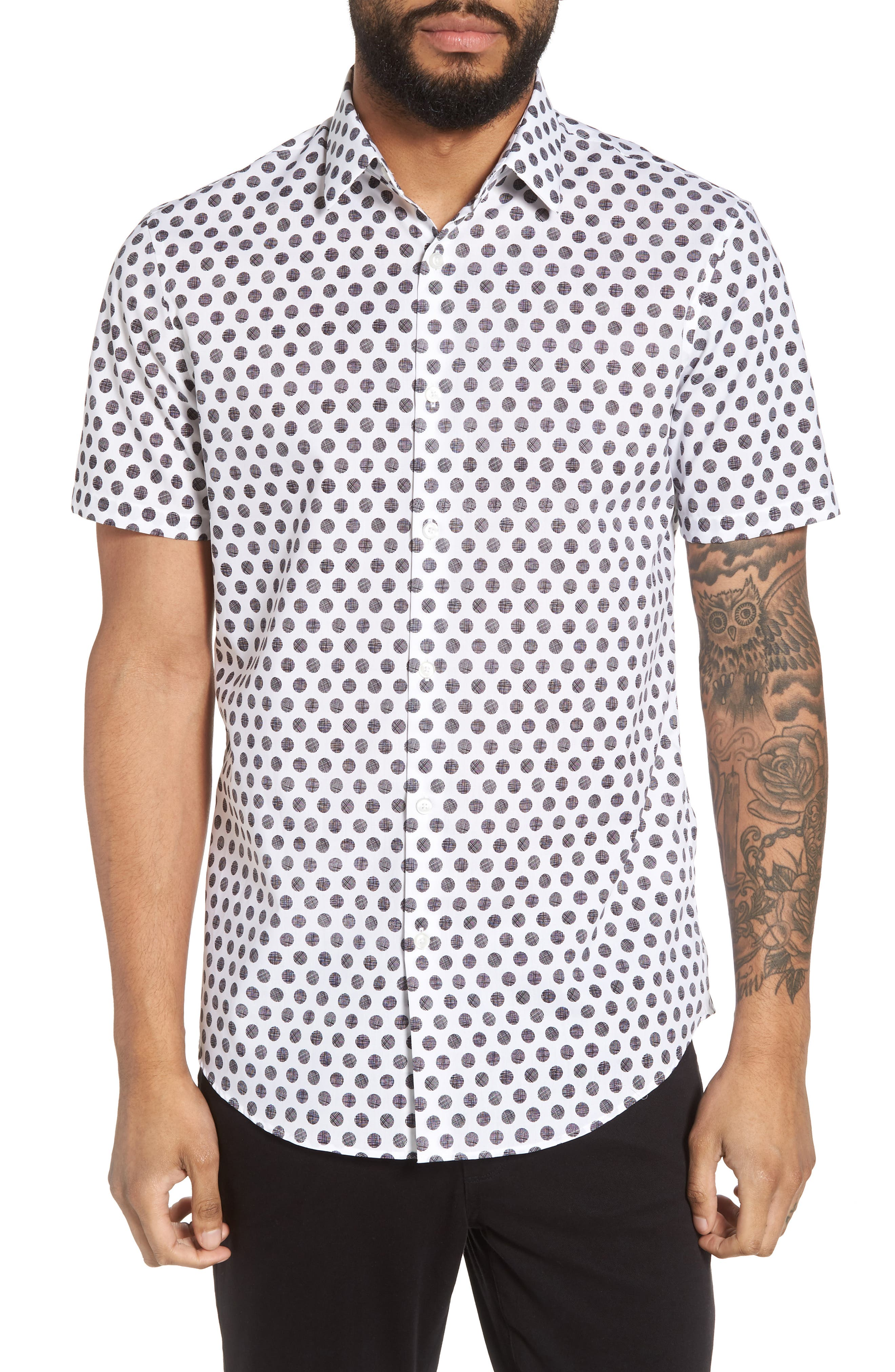 Dot Sport Shirt,                         Main,                         color, White Black Hatch Dot