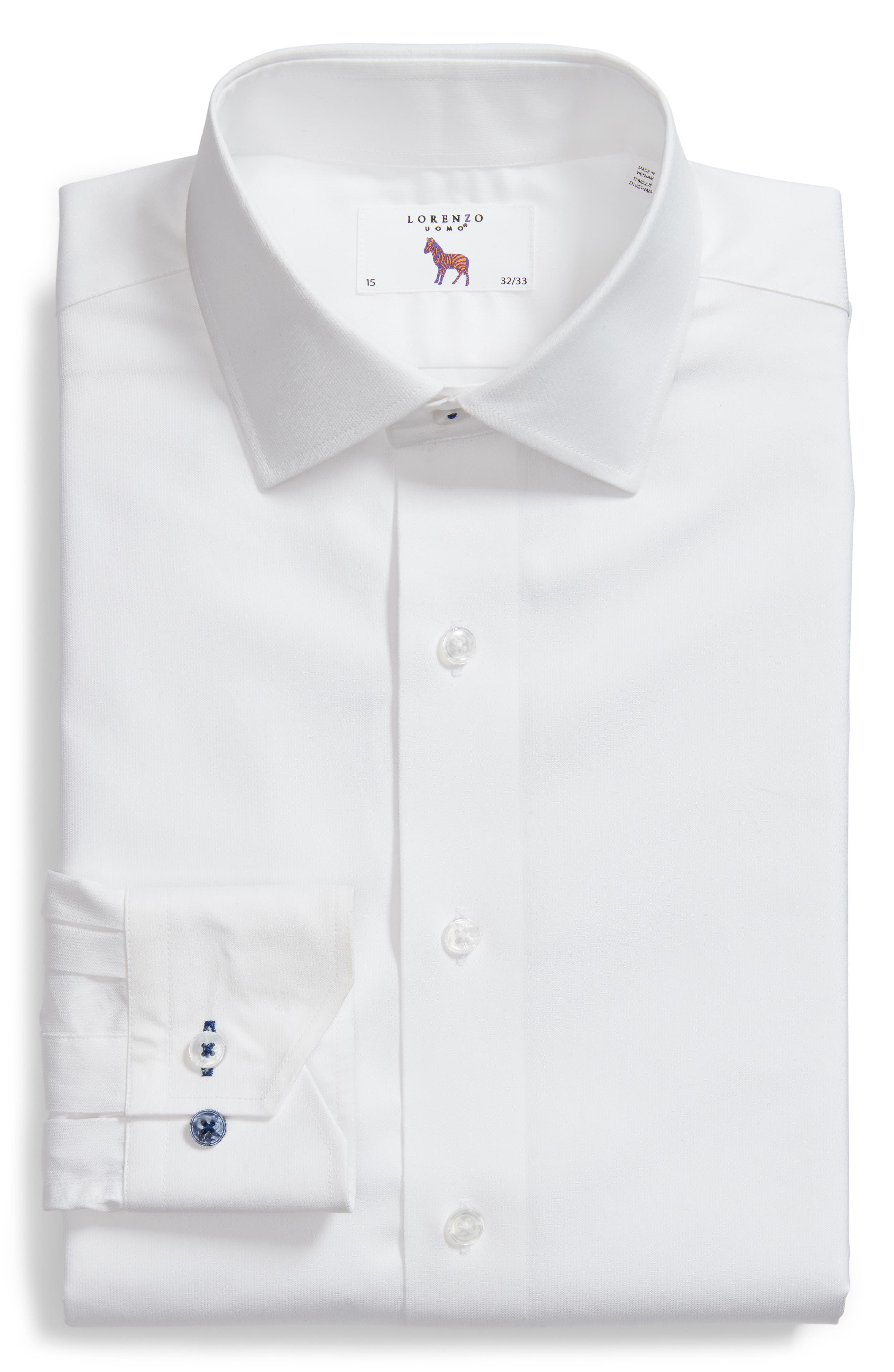 Trim Fit Solid Dress Shirt,                             Alternate thumbnail 6, color,                             White