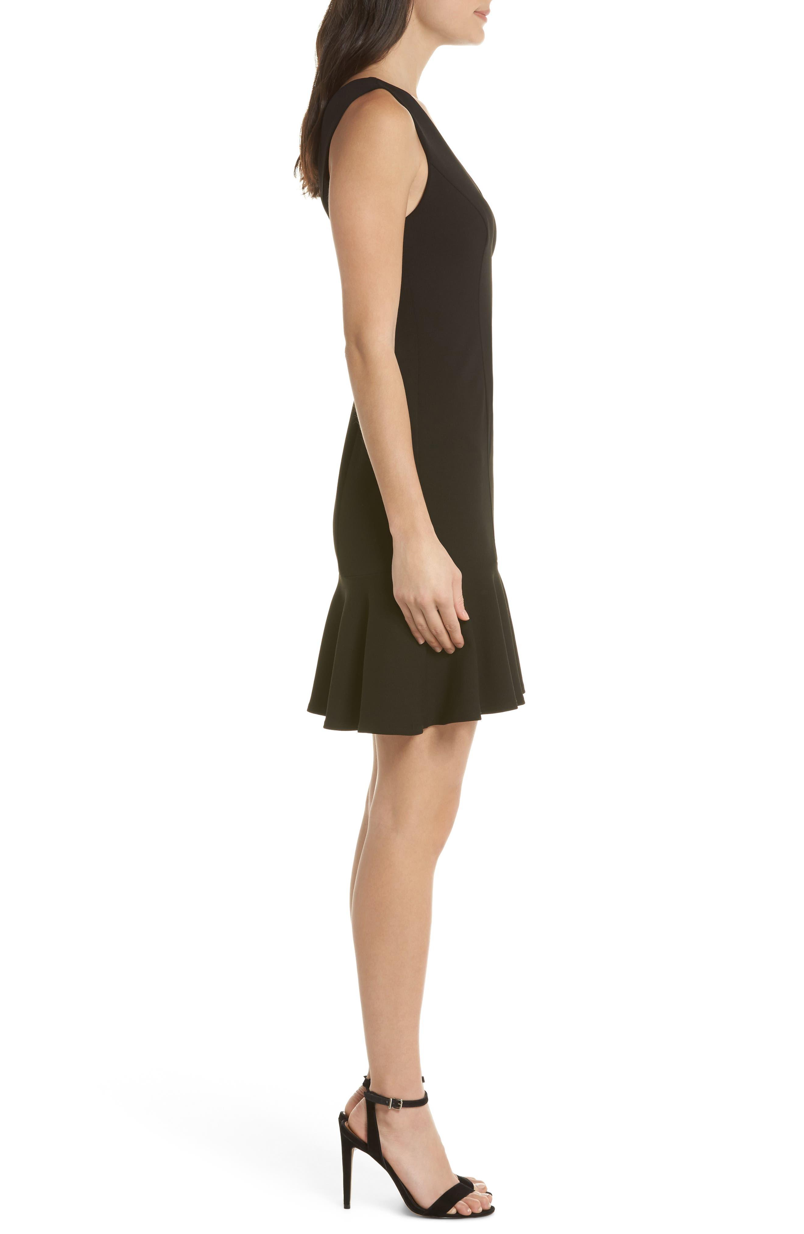 V-Neck Ruffle Hem Sheath Dress,                             Alternate thumbnail 3, color,                             Black