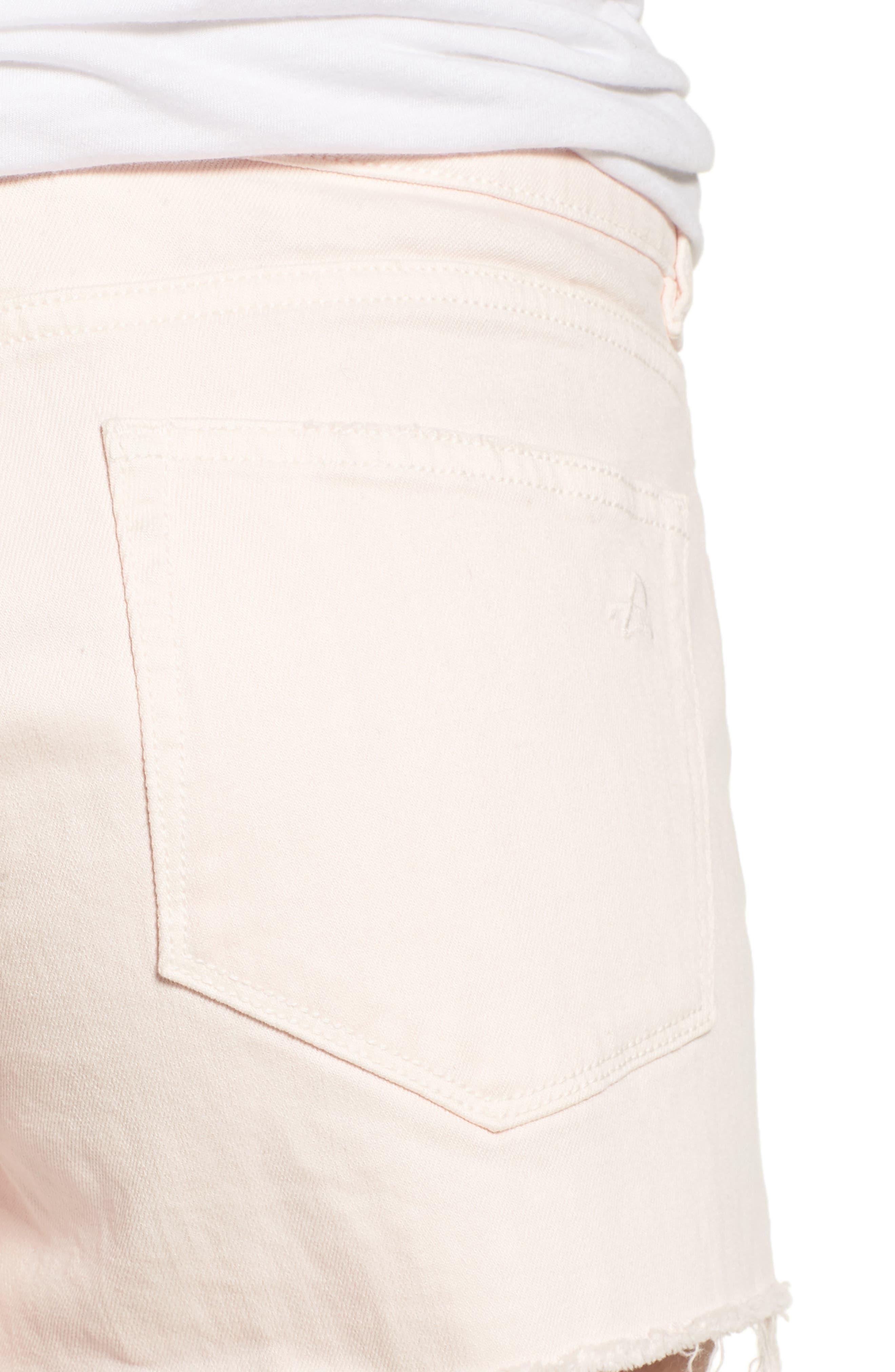 Renee Notch Raw Hem Denim Shorts,                             Alternate thumbnail 4, color,                             Blush Pink