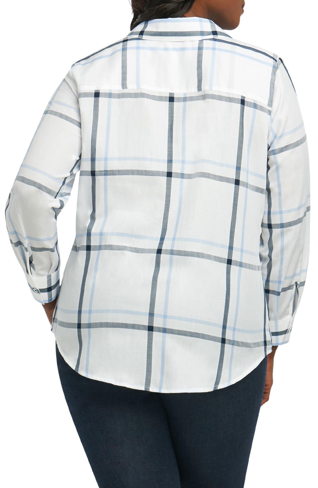 Alternate Image 2  - Foxcroft Coralie Plaid Woven Shirt (Plus Size)