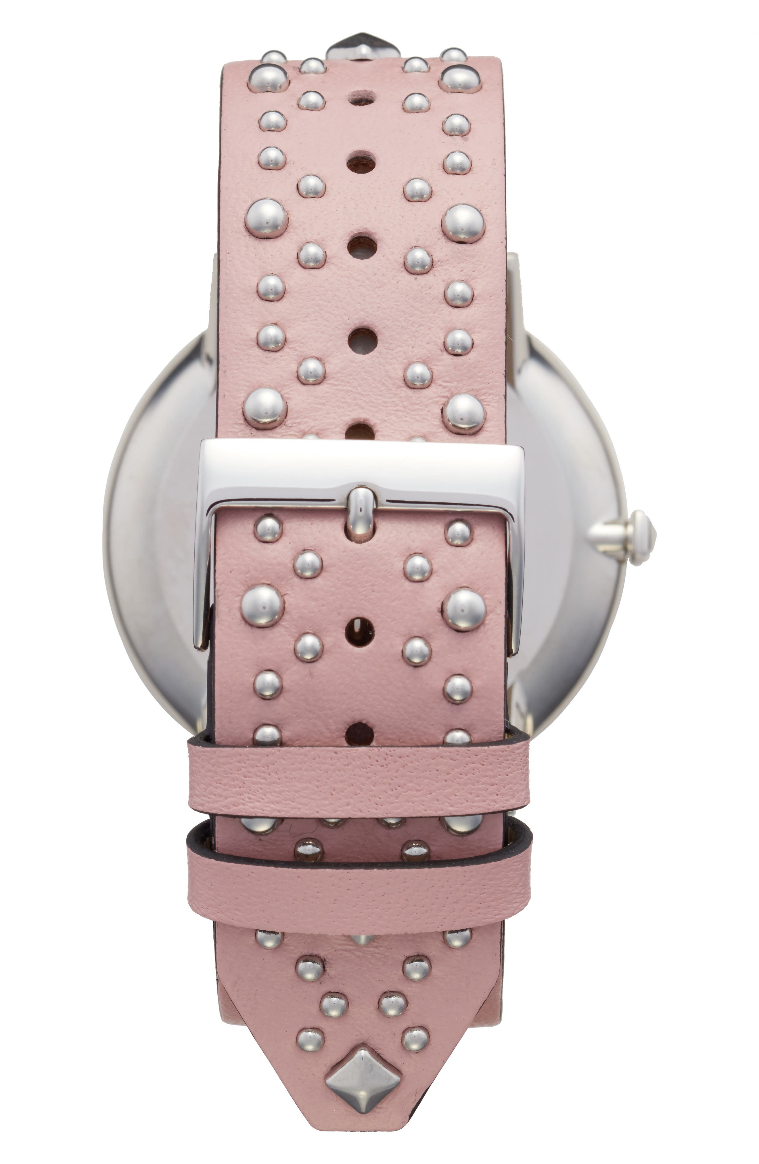 Major Embellished Leather Strap Watch, 40mm,                             Alternate thumbnail 2, color,                             Pink/ White/ Silver