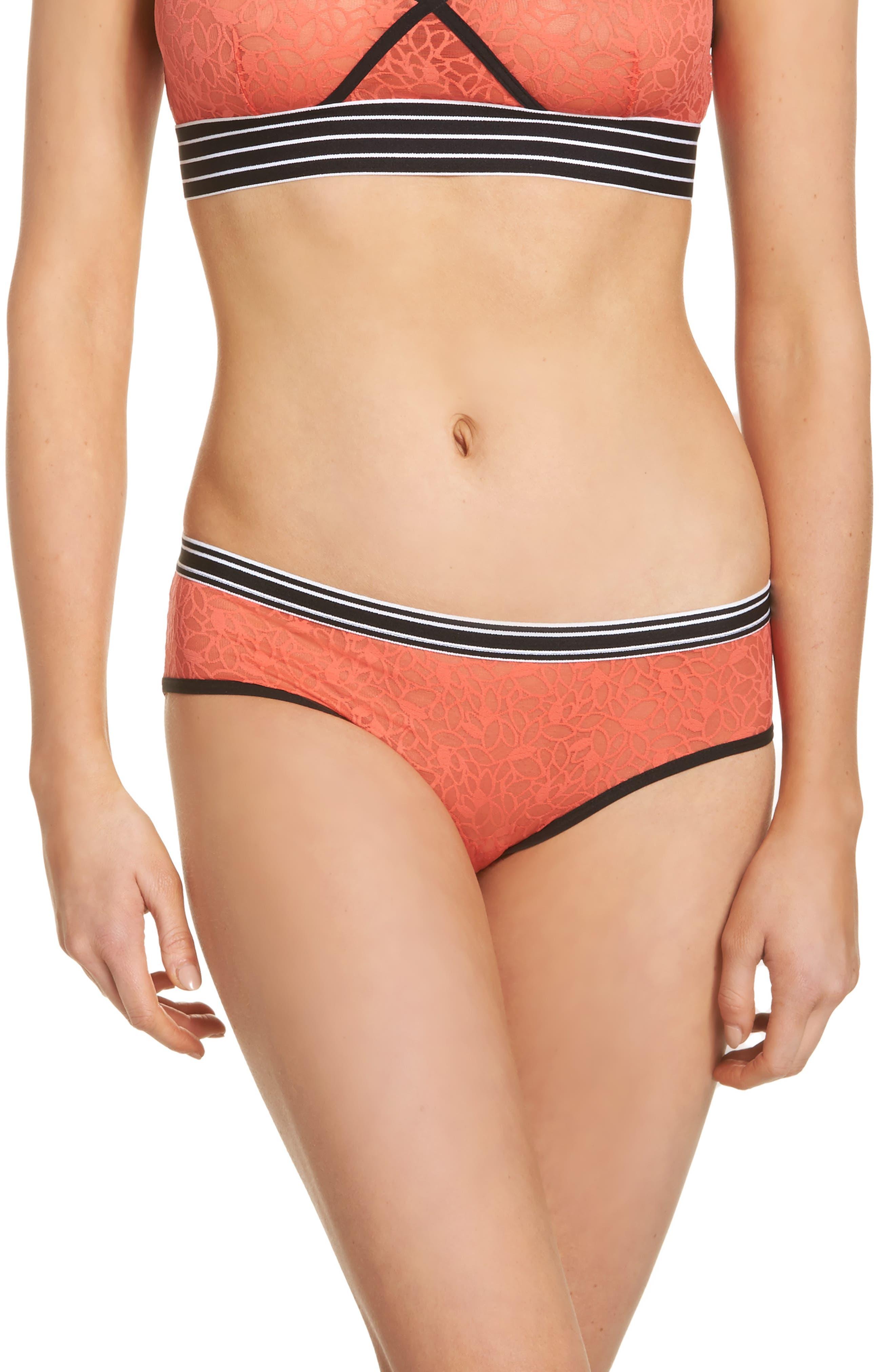 Lori Lace Hipster Panties,                             Main thumbnail 1, color,                             Coral Hot