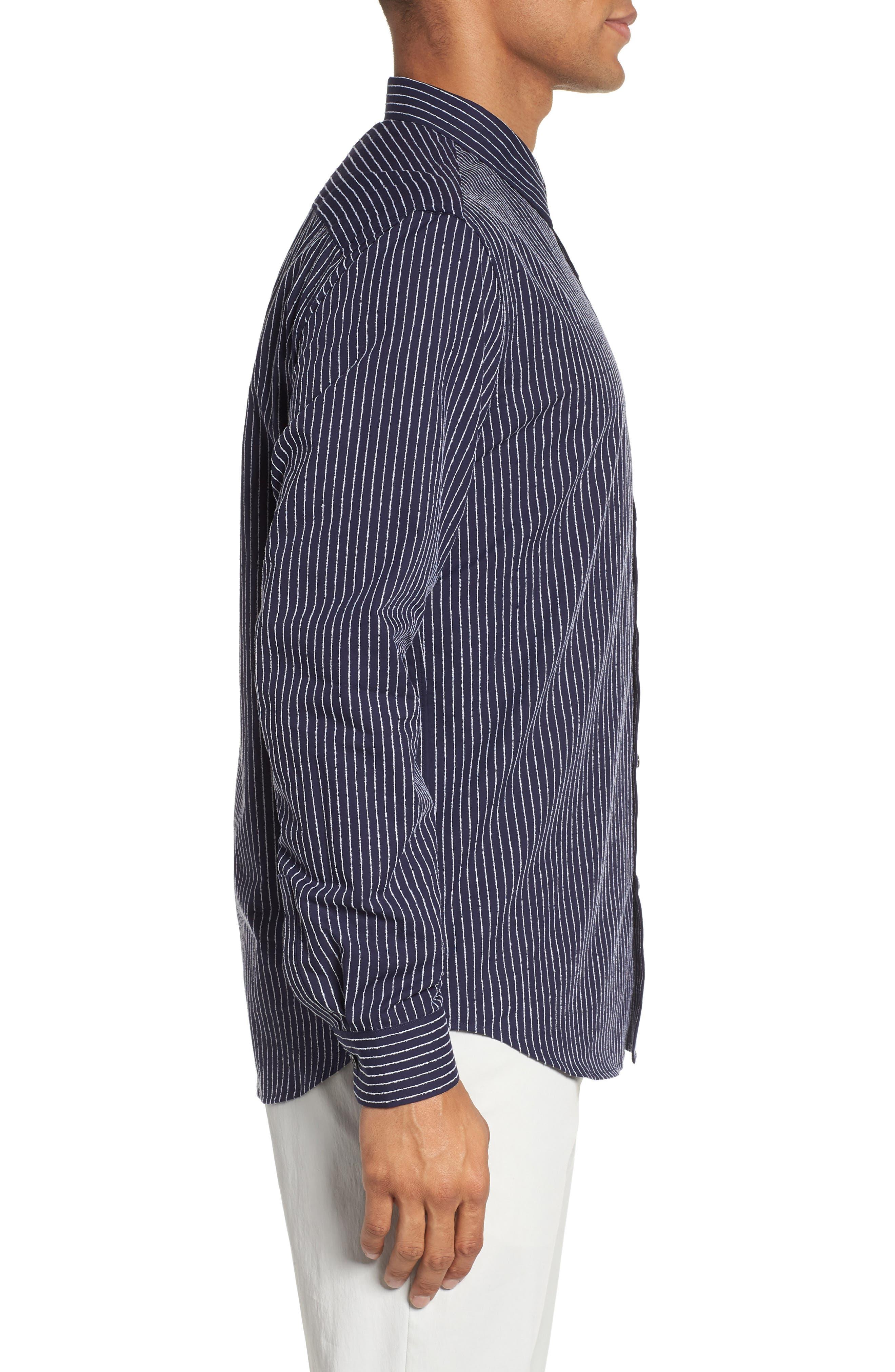 Irving Chenille Stripe Sport Shirt,                             Alternate thumbnail 3, color,                             Eclipse Stripe