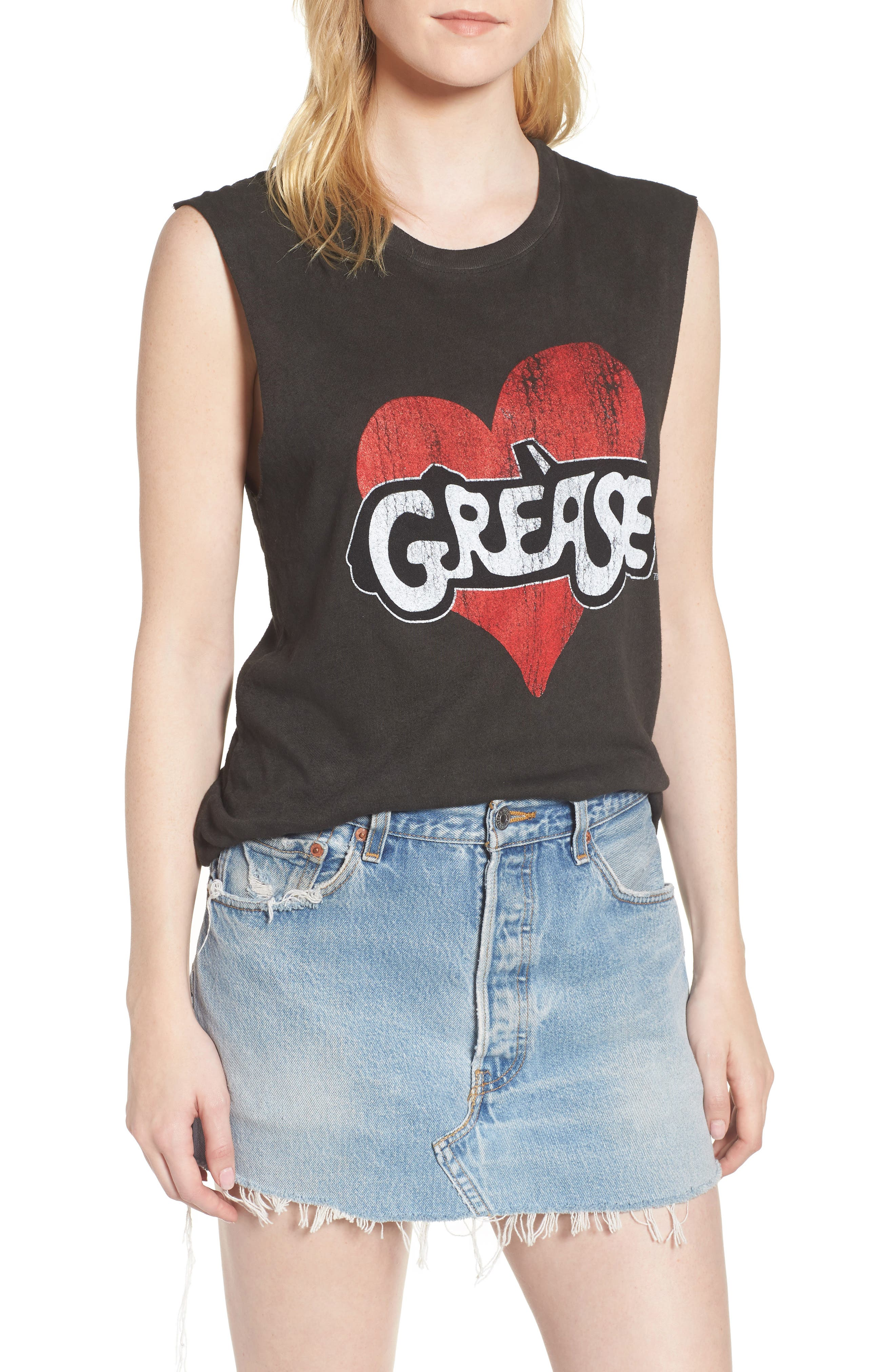 x Grease Muscle Tee,                         Main,                         color, Vintage Black