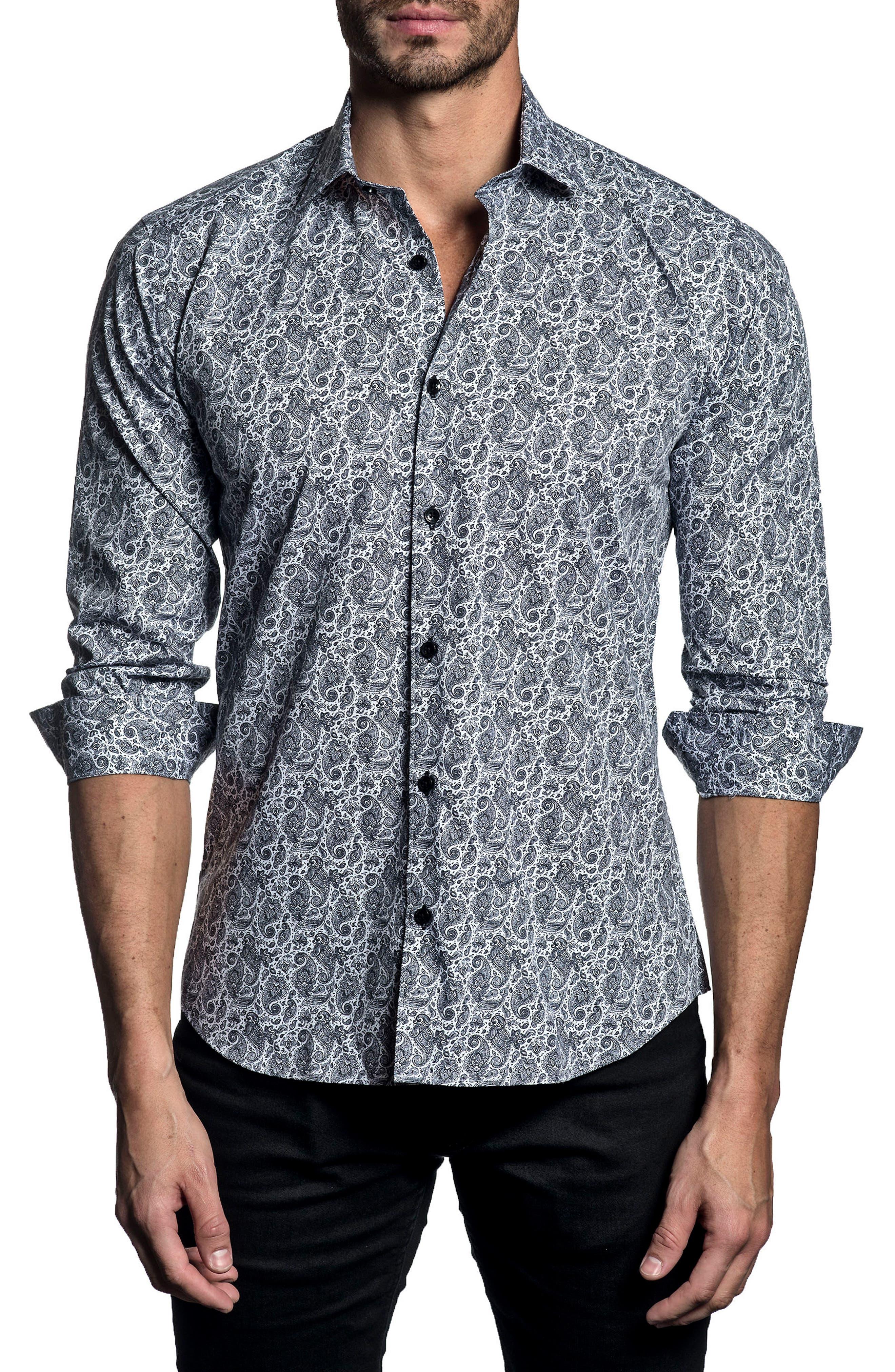 Trim Fit Paisley Sport Shirt,                         Main,                         color, White/ Black Paisley