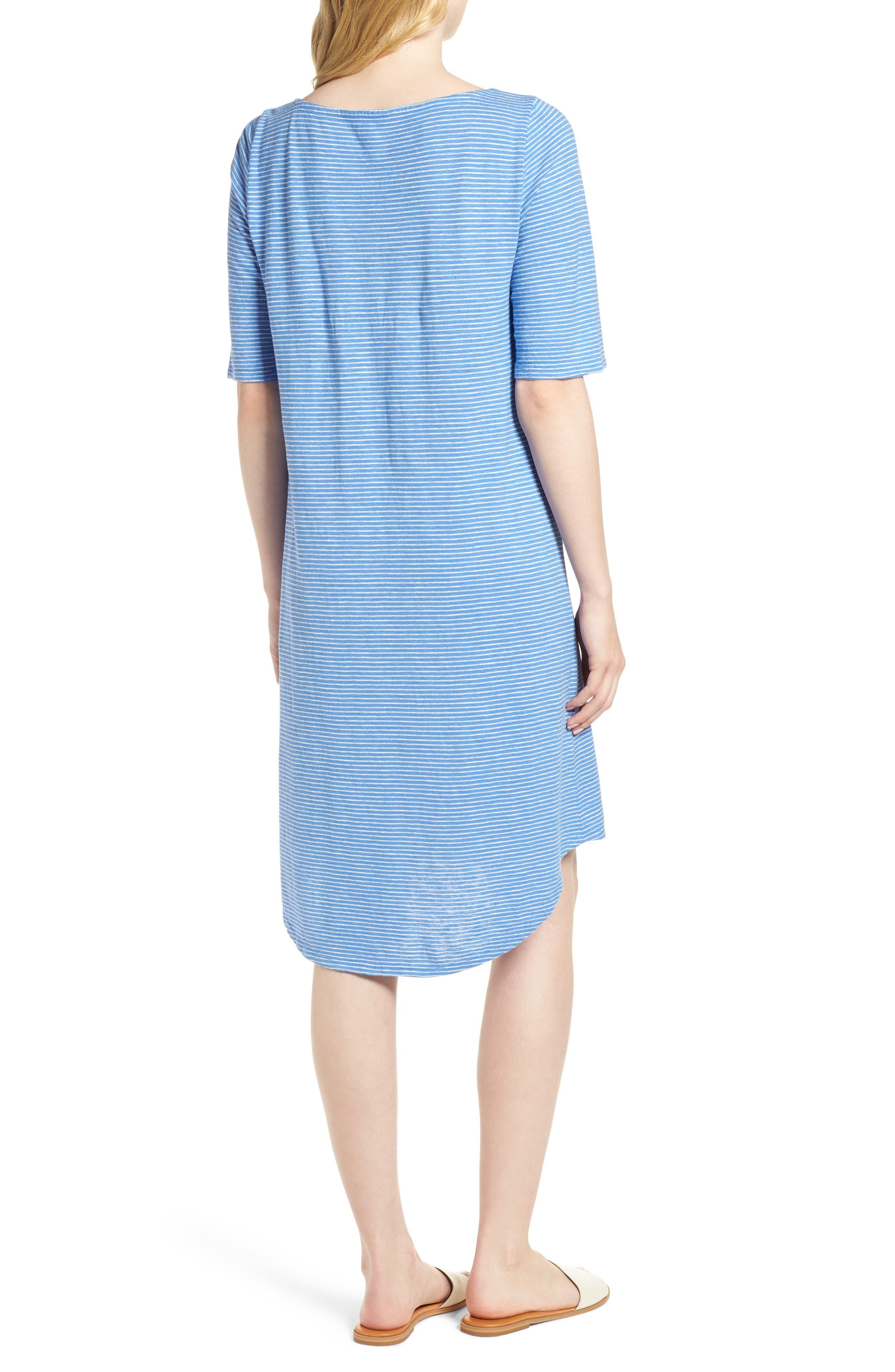 Hemp & Organic Cotton Jersey Dress,                             Alternate thumbnail 2, color,                             Bluebell