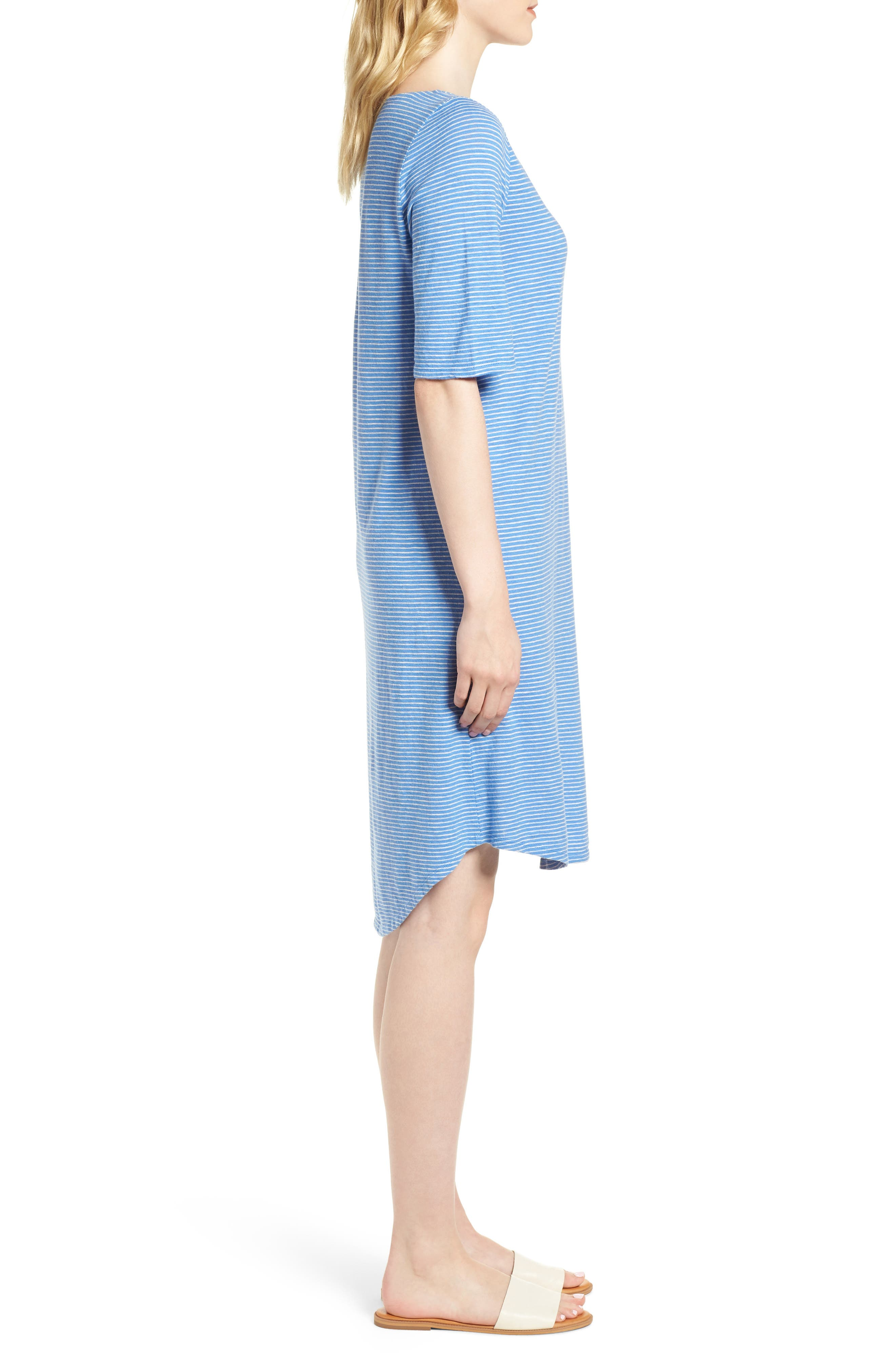 Hemp & Organic Cotton Jersey Dress,                             Alternate thumbnail 3, color,                             Bluebell