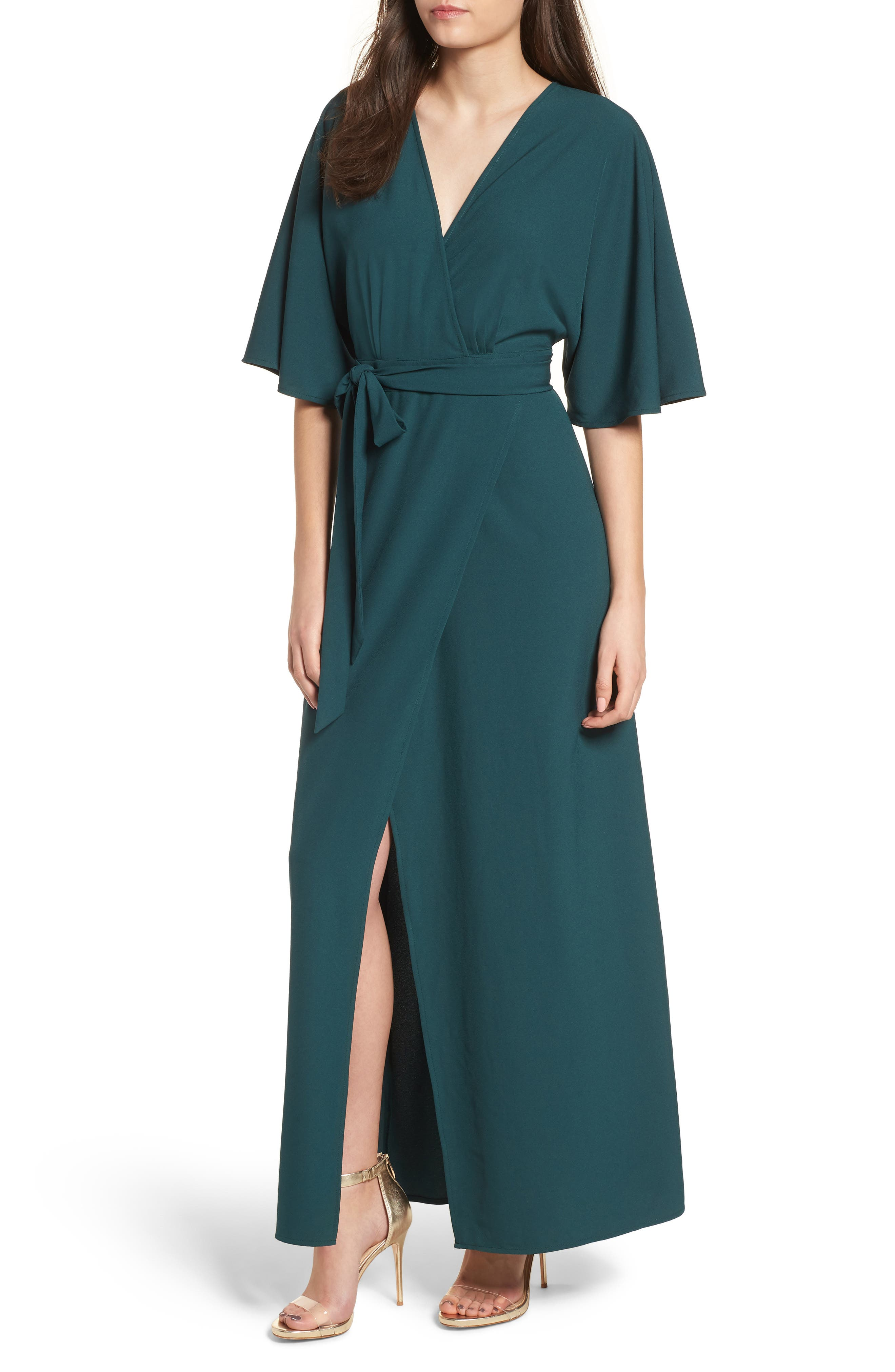 Kimono Maxi Dress,                         Main,                         color, Green Bug