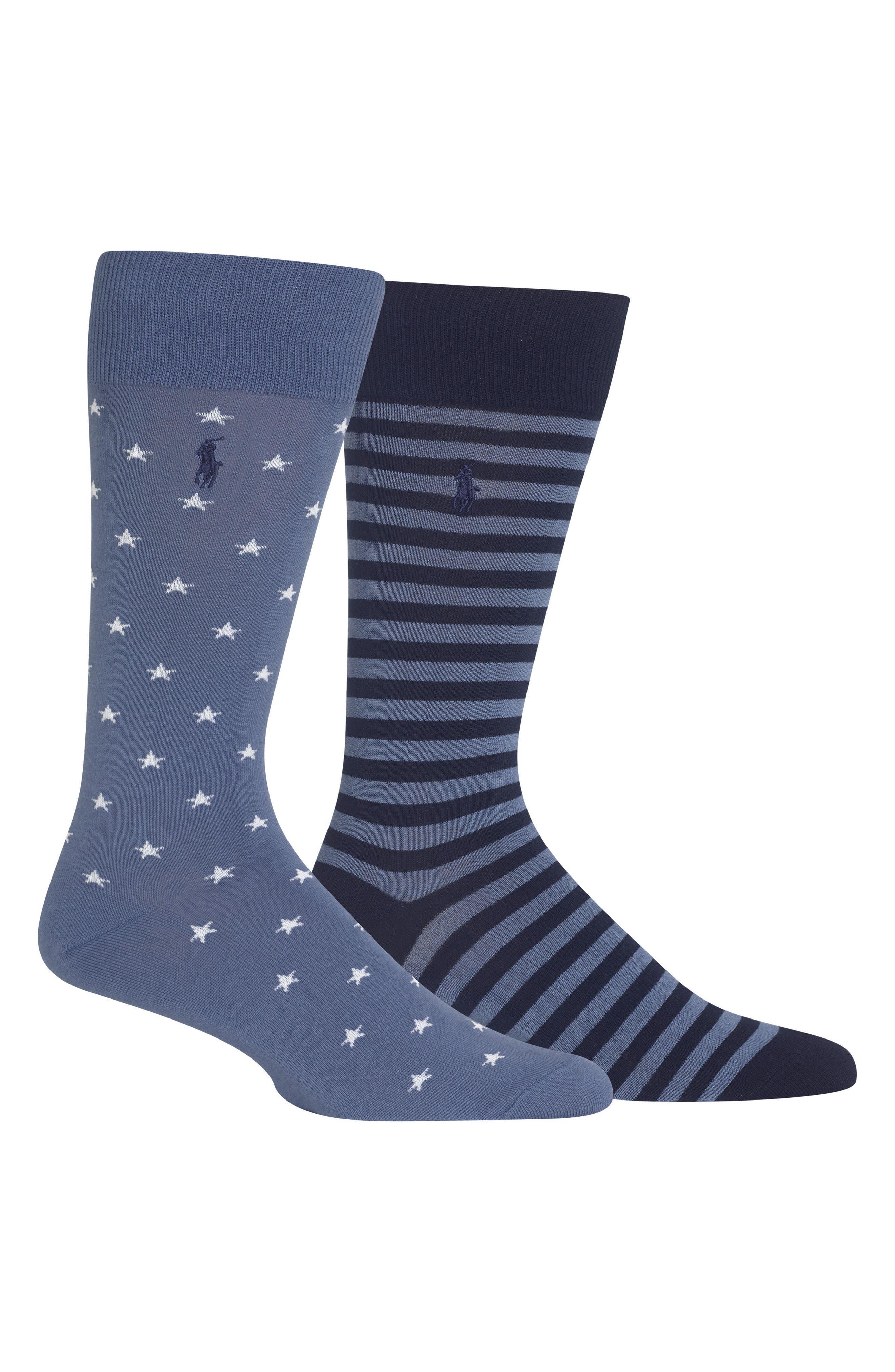 Ralph Lauren Stars & Stripes 2-Pack Socks,                             Main thumbnail 1, color,                             Blue