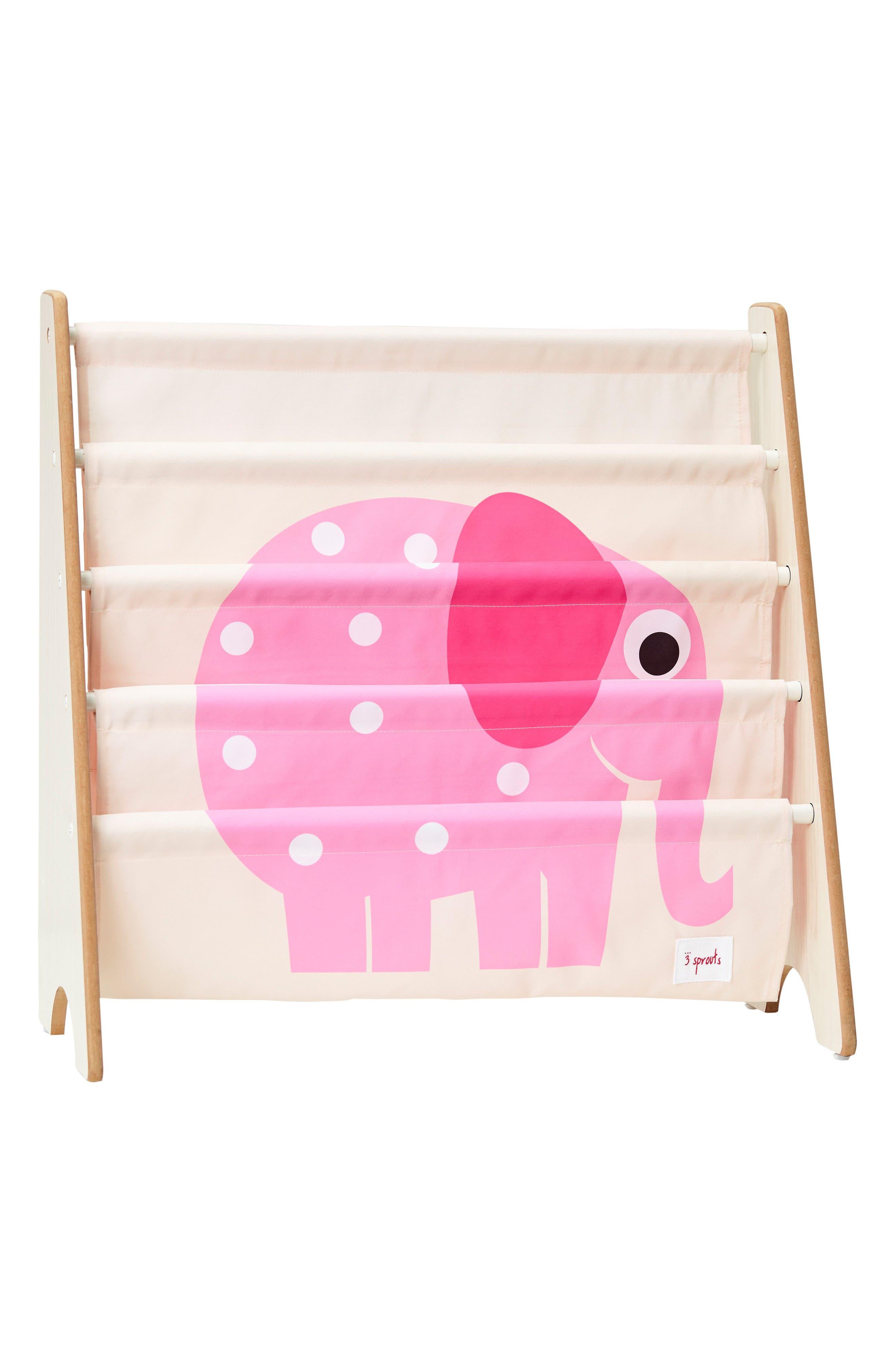 Elephant Book Rack,                         Main,                         color, Pink