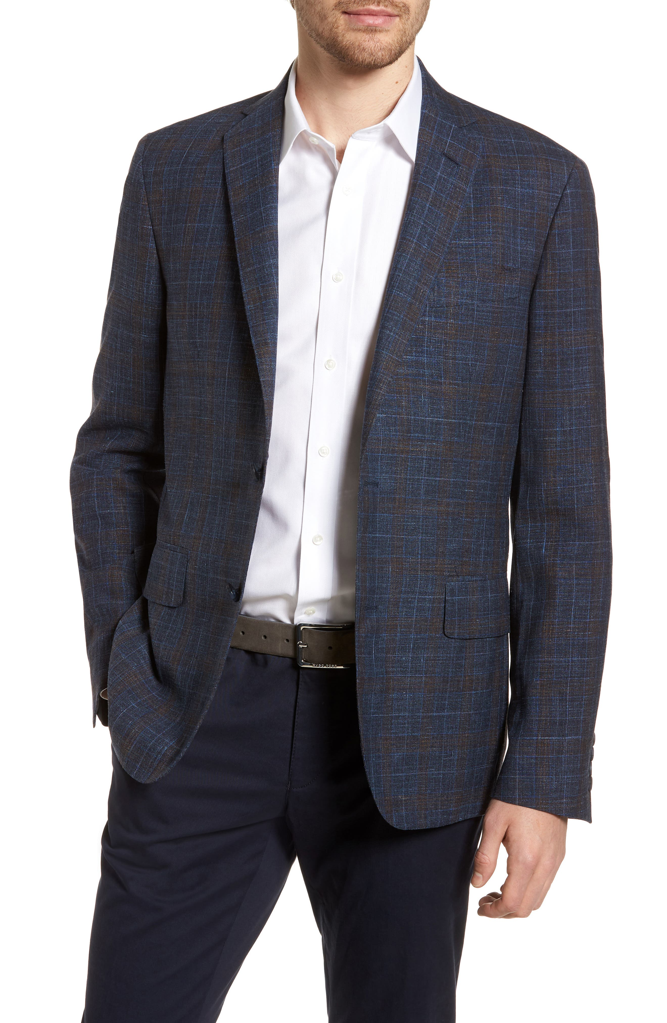 Trim Fit Plaid Wool Blend Sport Coat,                             Main thumbnail 1, color,                             Navy