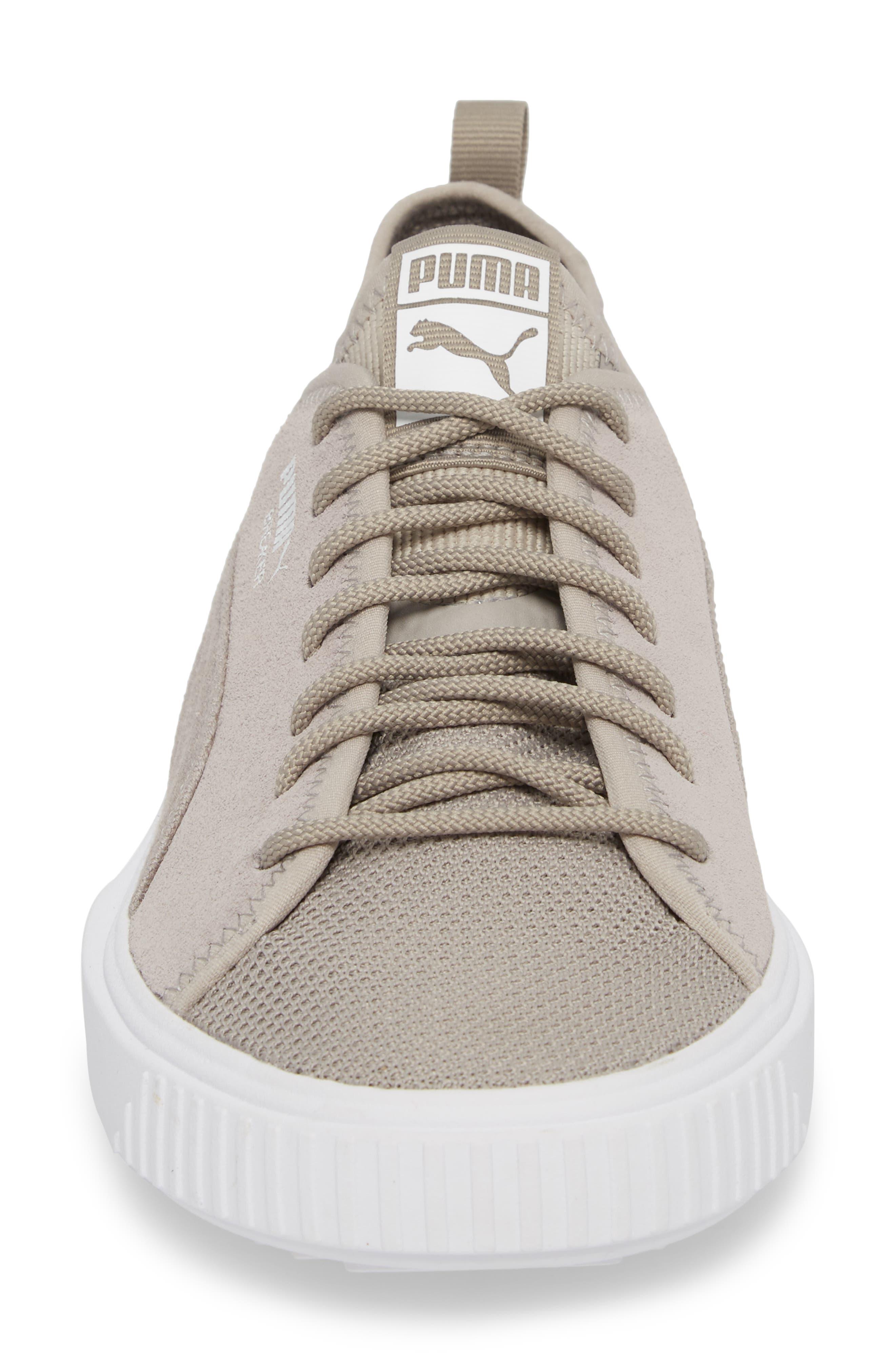 Breaker Mesh Sneaker,                             Alternate thumbnail 4, color,                             Ash/ White Suede
